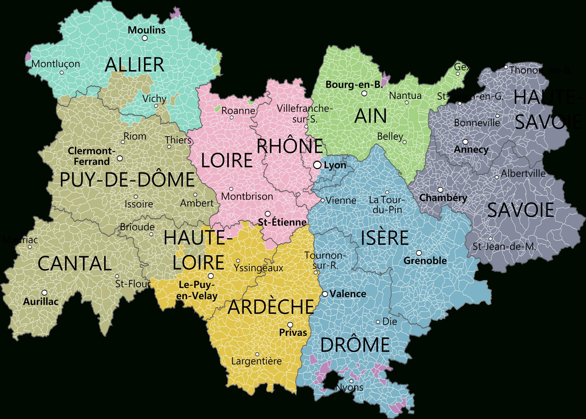 Carte De La Région Avec Ses Départements Et La Métropole De dedans Carte De France Et Ses Régions