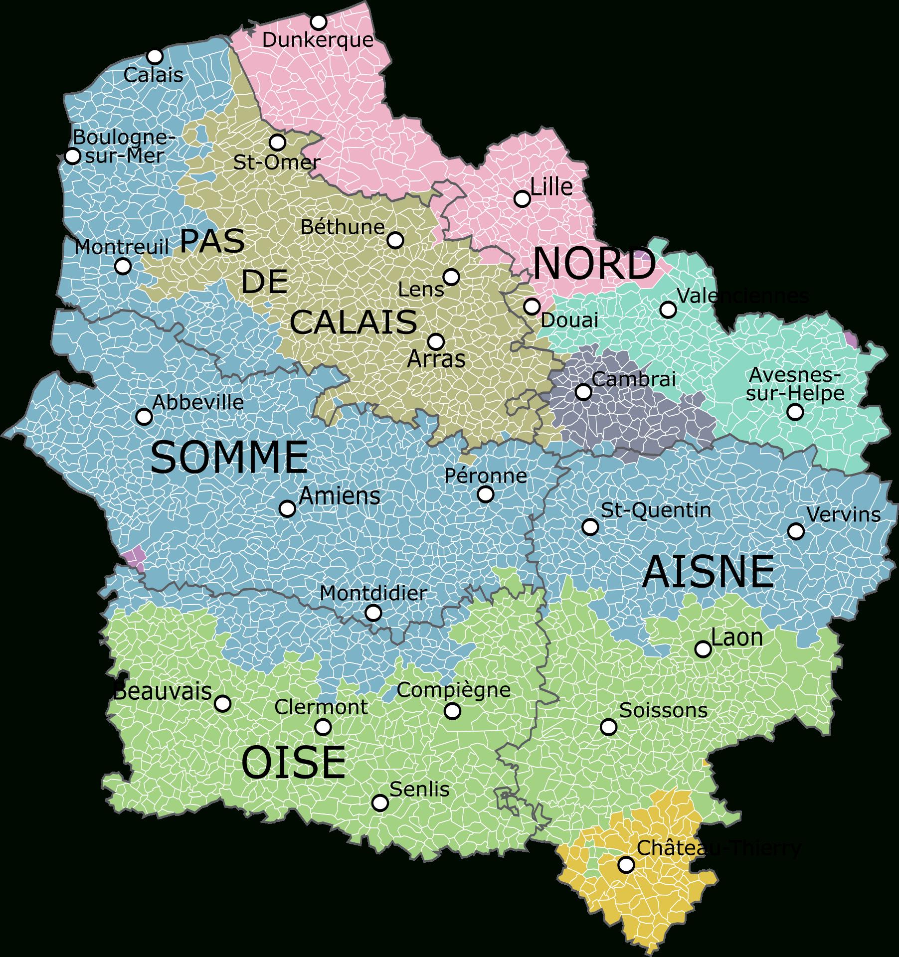 Carte De La Région Avec Ses Départements, Montrant Les concernant Carte De La France Région