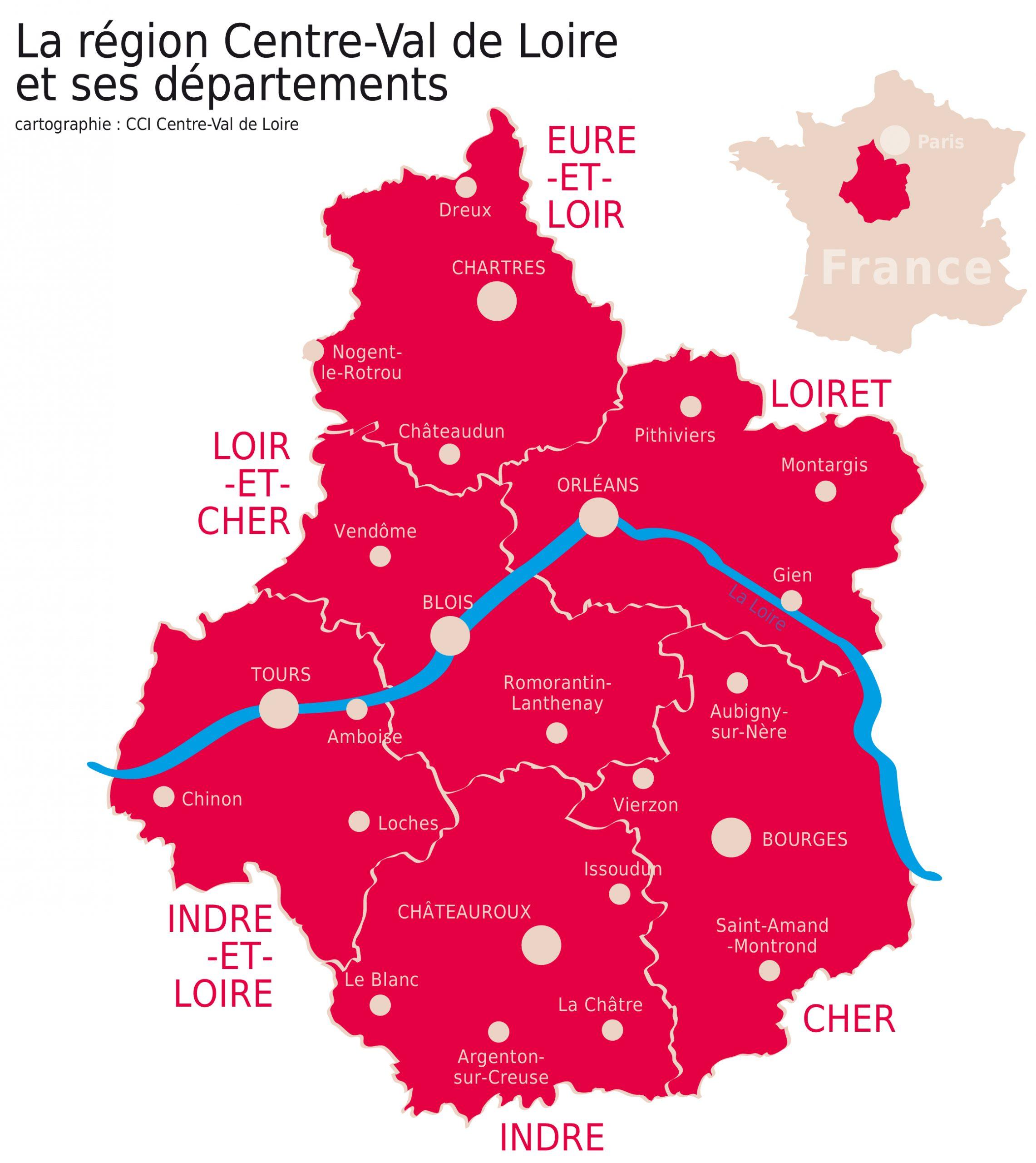 Carte De La Région | Cci Centre destiné Carte De France Et Ses Régions