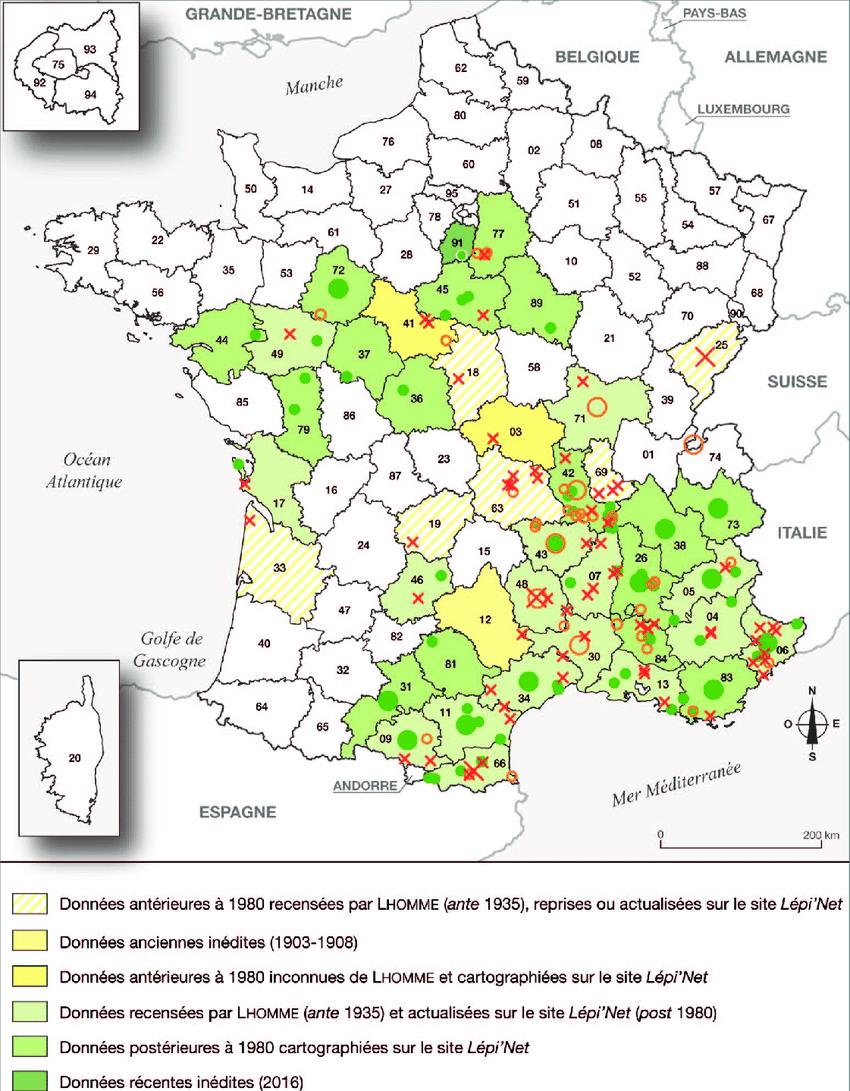 Carte De La Répartition Connue De Selidosema Taeniolaria En destiné Carte Départementale De La France