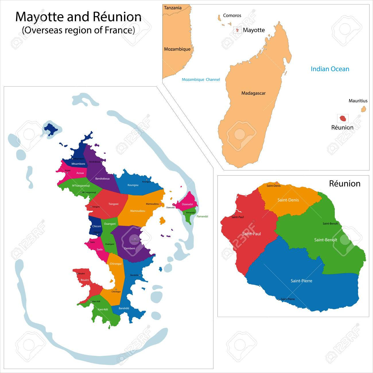 Carte De La Réunion Et À Mayotte, Dans La Région D'outre-Mer De La France pour Carte France D Outre Mer