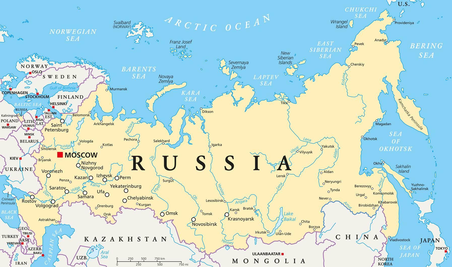 Carte De La Russie - Plusieurs Cartes Sur Le Relief, Villes avec Carte Europe De L Est