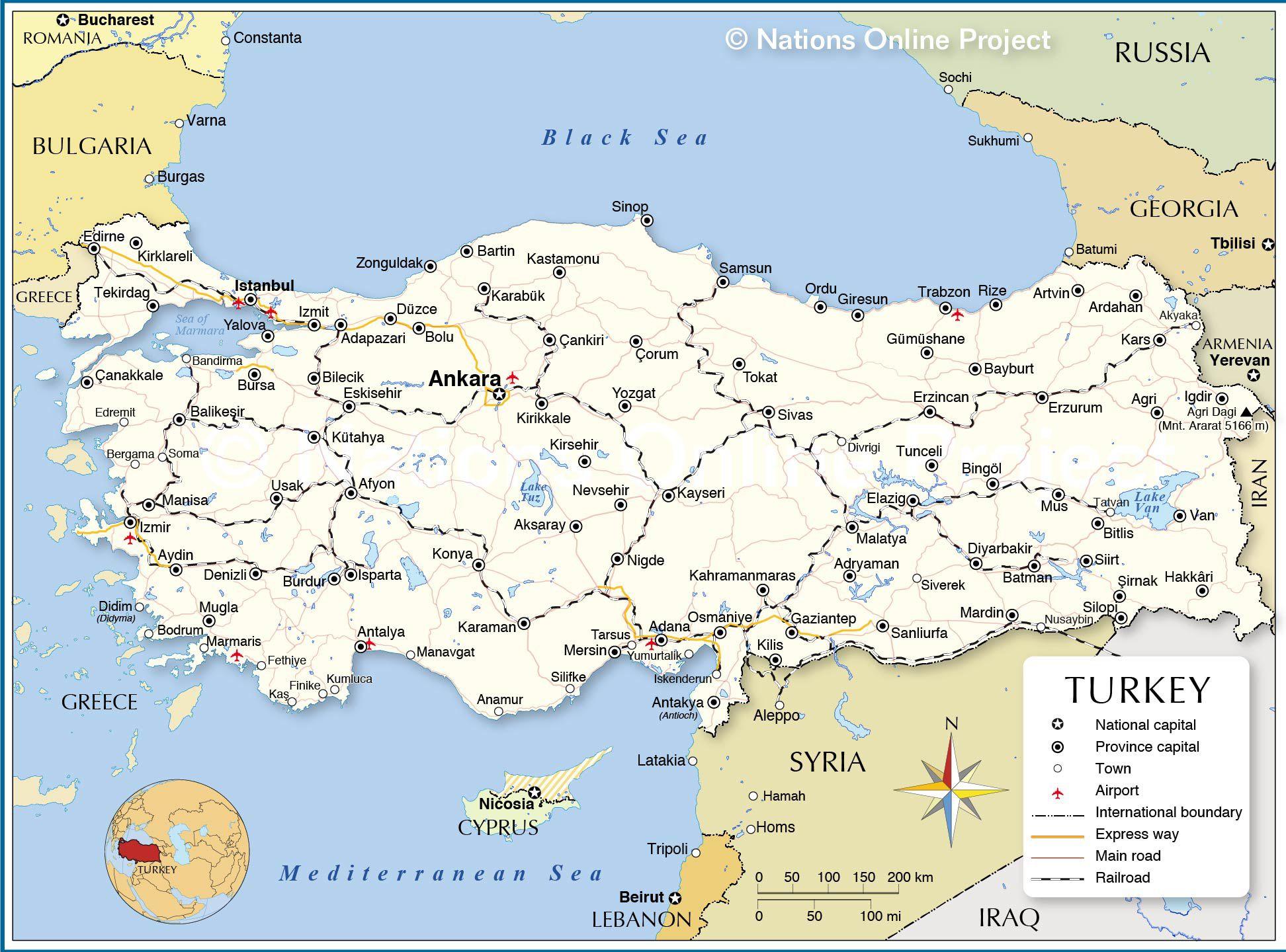 Carte De La Turquie - Relief, Administrative, Régions, Climat dedans Carte Des Fleuves En France