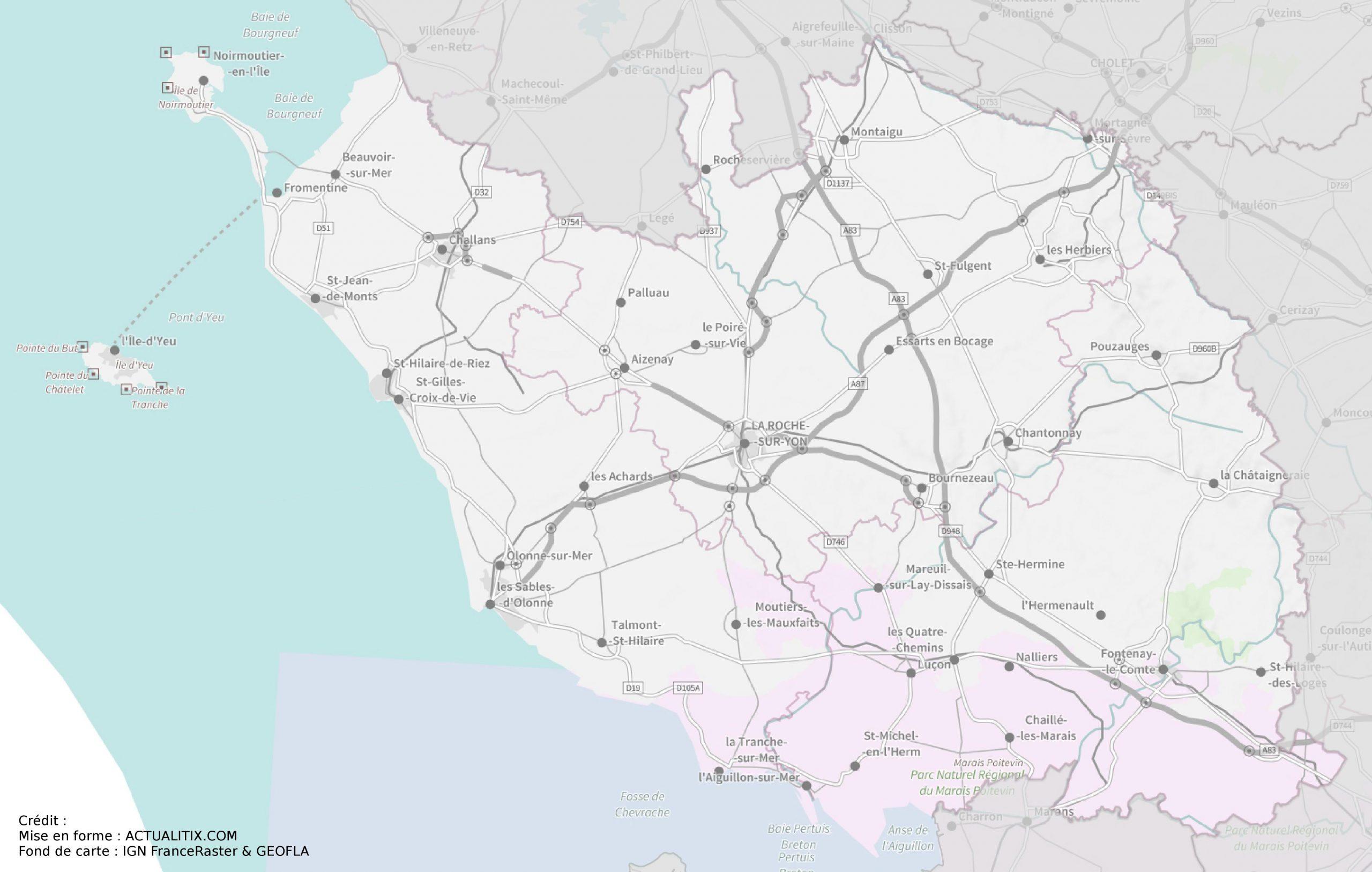 Carte De La Vendée - Cartes Sur Les Villes, Relief, Sites serapportantà Carte De France Avec Départements Et Préfectures