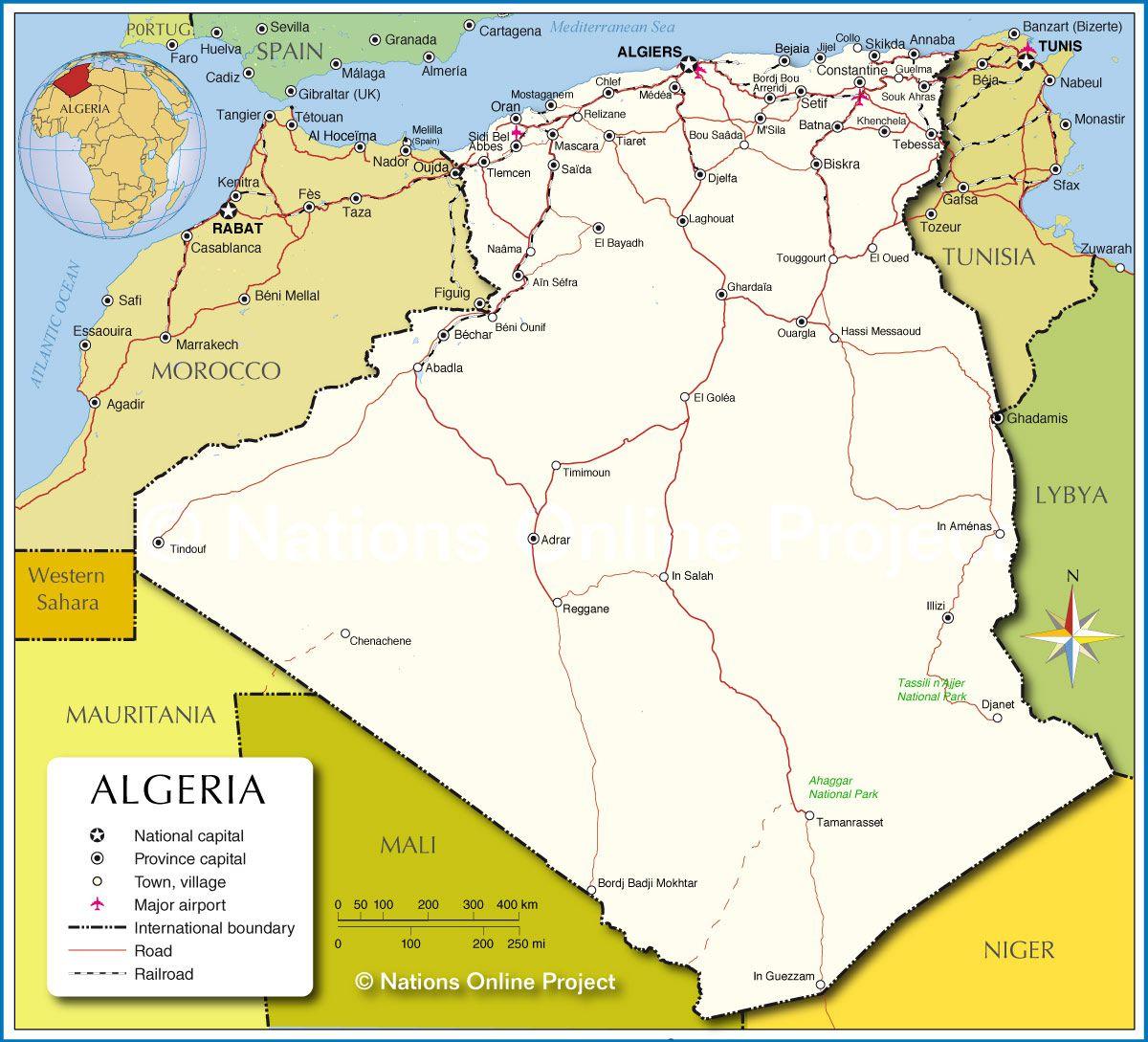 Carte De L'algérie - Villes, Routes, Relief, Administrative intérieur Carte D Europe En Francais