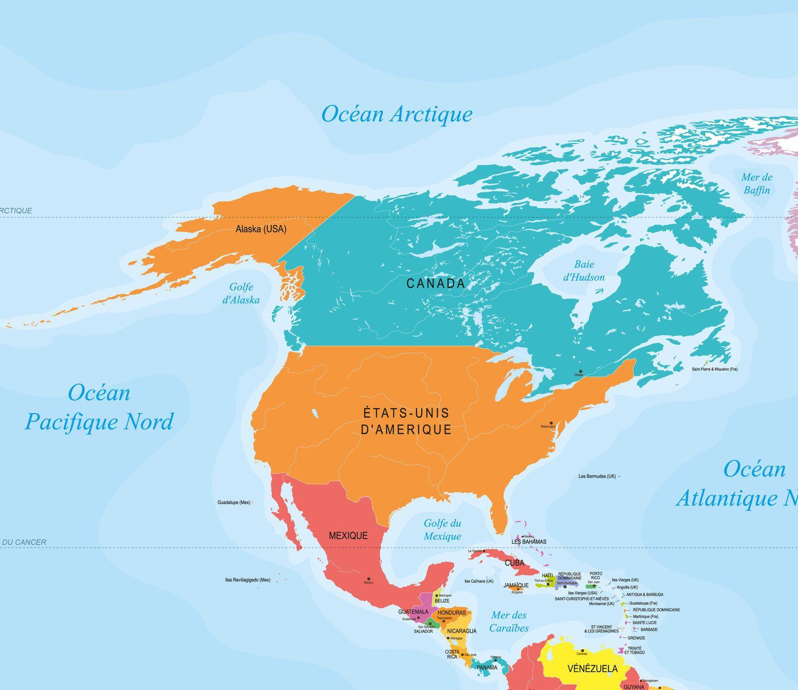Carte De L'amérique Du Nord Et Centrale - Pays, Relief dedans Carte Des Pays De L Europe