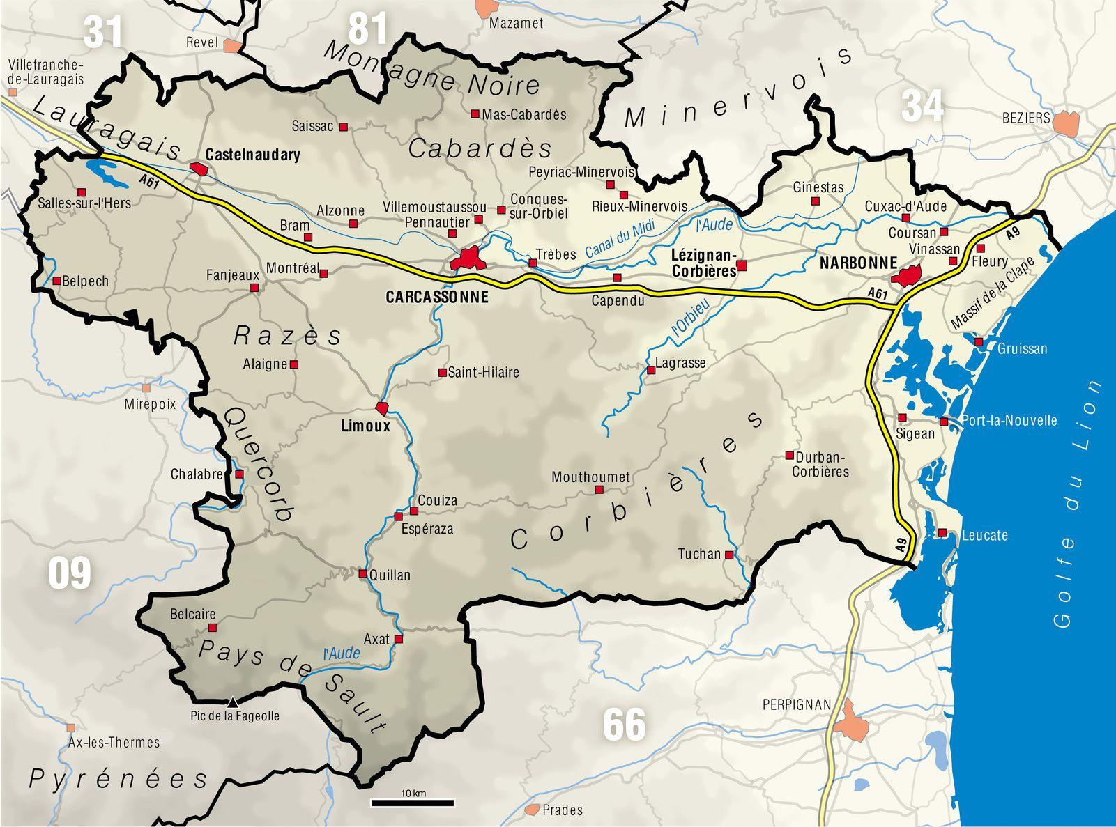Carte De L'aude - Aude Carte Du Département 11 - Villes destiné Carte France Avec Region