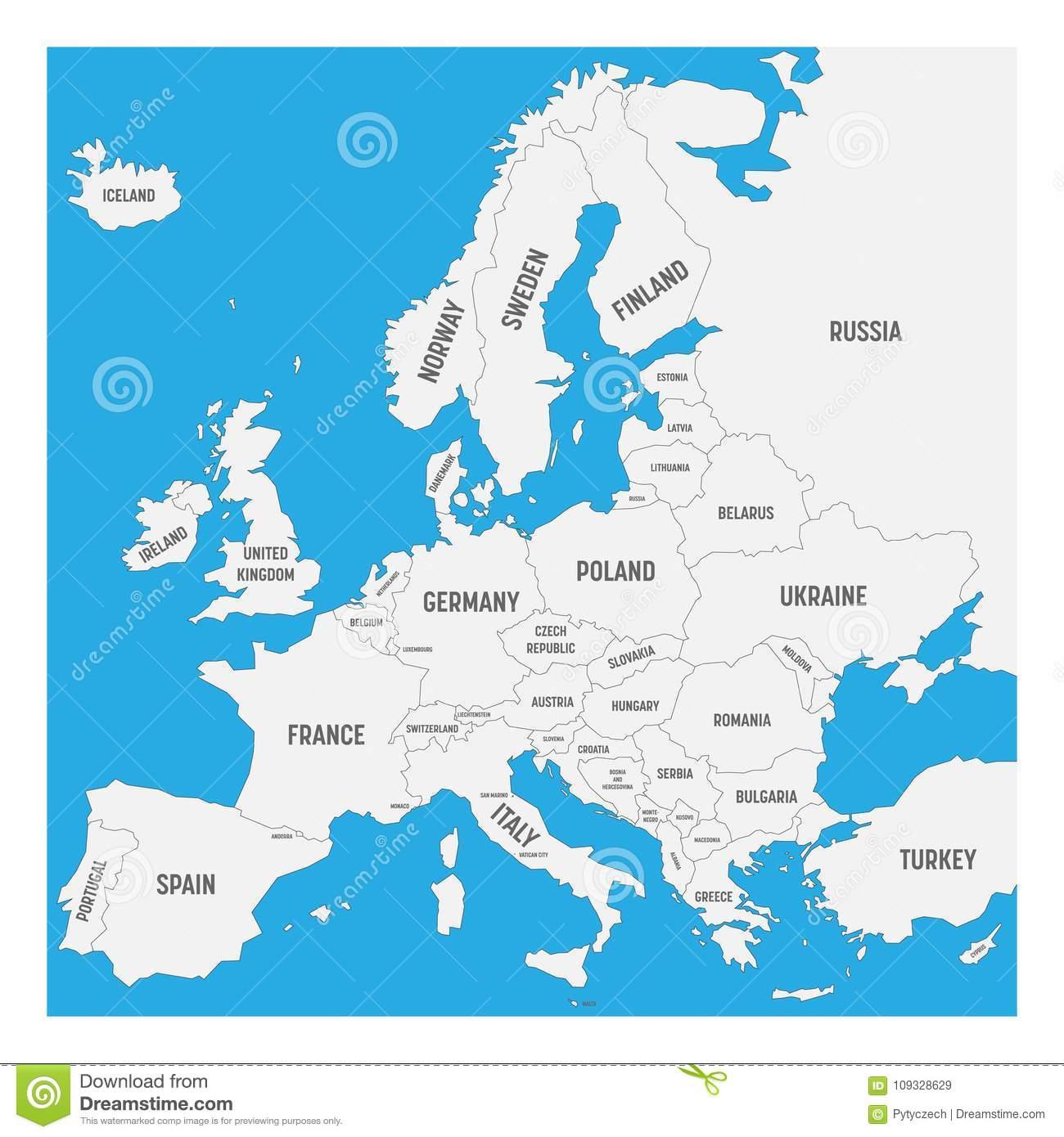 Carte De L'europe Avec Des Noms Des Pays Souverains, Petits tout Carte D Europe Avec Pays