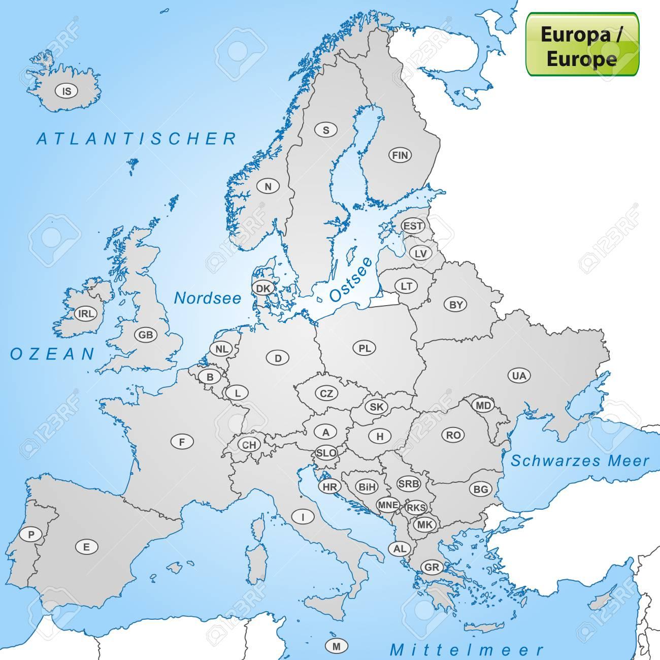 Carte De L'europe Avec Les Abréviations Des Pays destiné Carte D Europe Avec Pays
