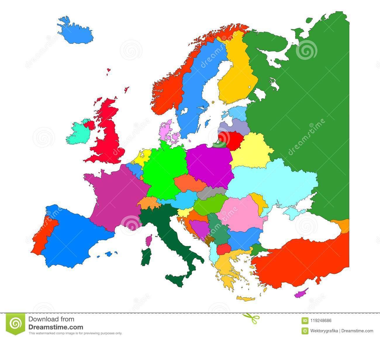Carte De L'europe Avec L'isolat De Frontières De Pays Sur Le à Carte D Europe Avec Pays