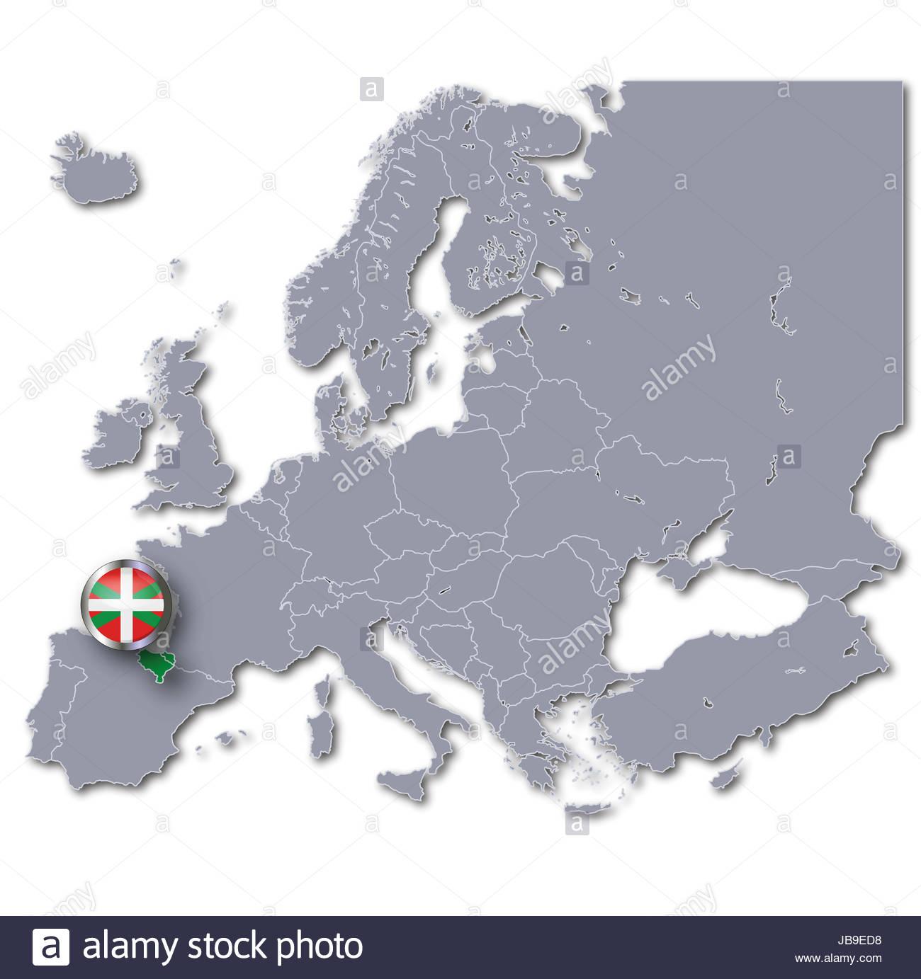 Carte De L'europe Avec Pays Basque Banque D'images, Photo concernant Carte De L Europe Avec Pays