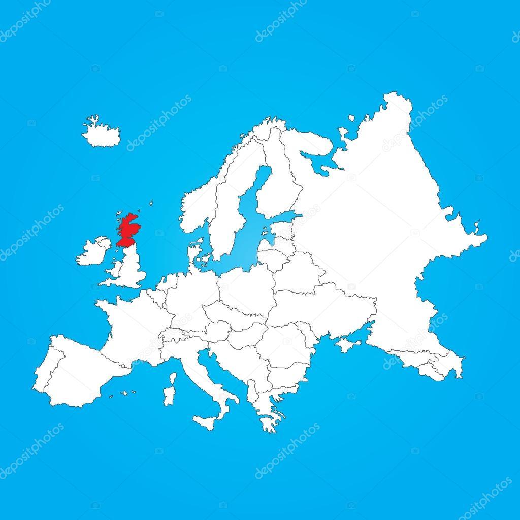 Carte De L'europe Avec Un Pays Sélectionné Scotland à Carte De L Europe Avec Pays