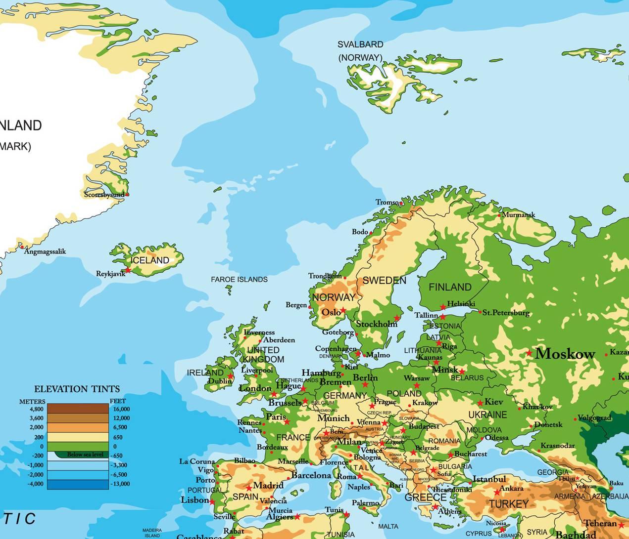 Carte De L'europe - Cartes Reliefs, Villes, Pays, Euro, Ue intérieur Carte De L Europe 2017