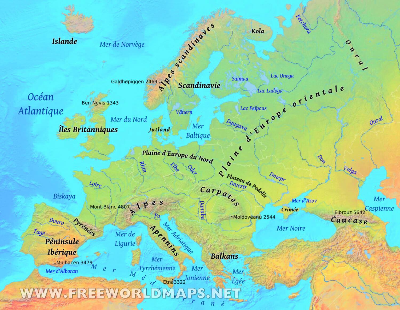 Carte De L'europe En Français pour Carte Géographique De L Europe