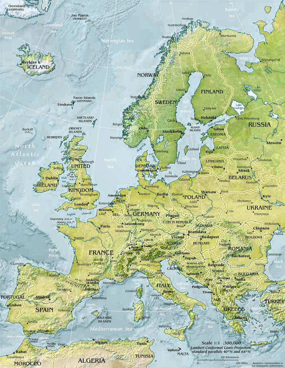 Carte De L'europe (Géographie Physique). dedans Carte Géographique Europe