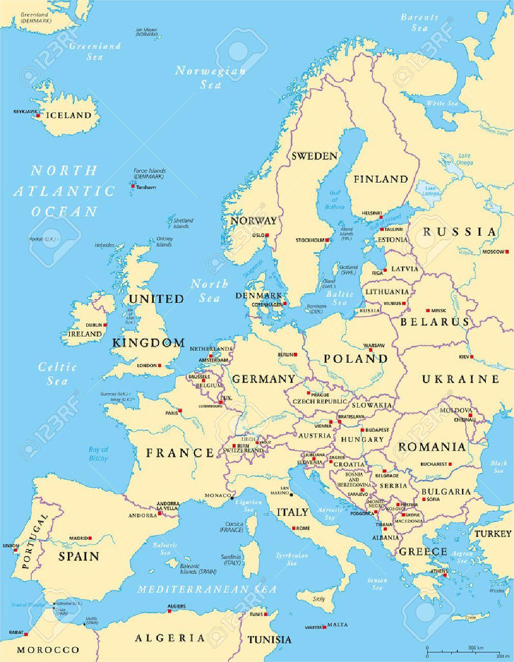 Carte De L'europe Politique Et La Région Environnante. Avec Les Pays, Les  Capitales, Les Frontières Nationales, Les Grandes Rivières Et Les Lacs. pour Carte Des Capitales De L Europe