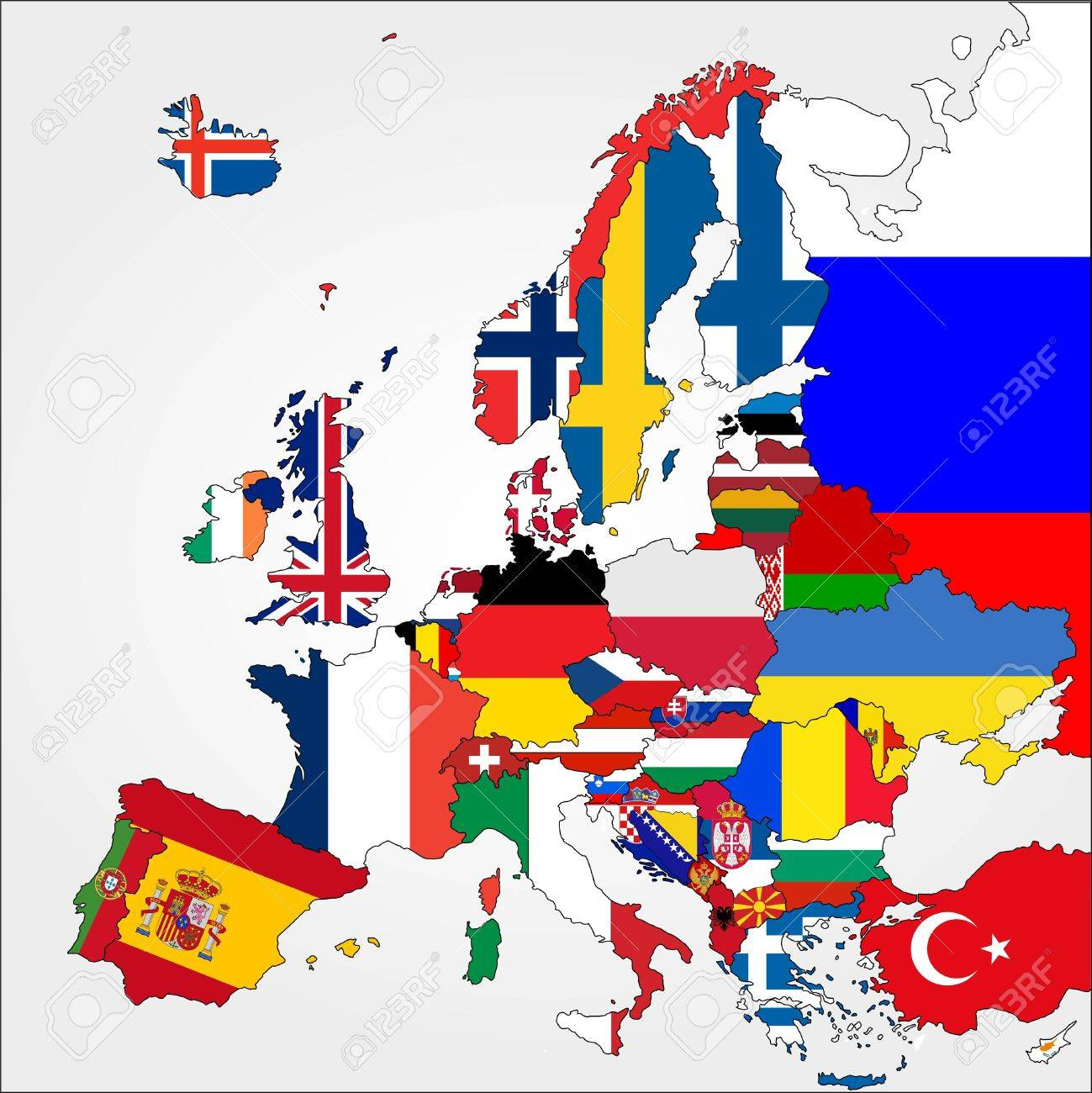 Carte De L'europe Très Détaillée Avec Des Drapeaux De Pays pour Carte De L Europe Détaillée