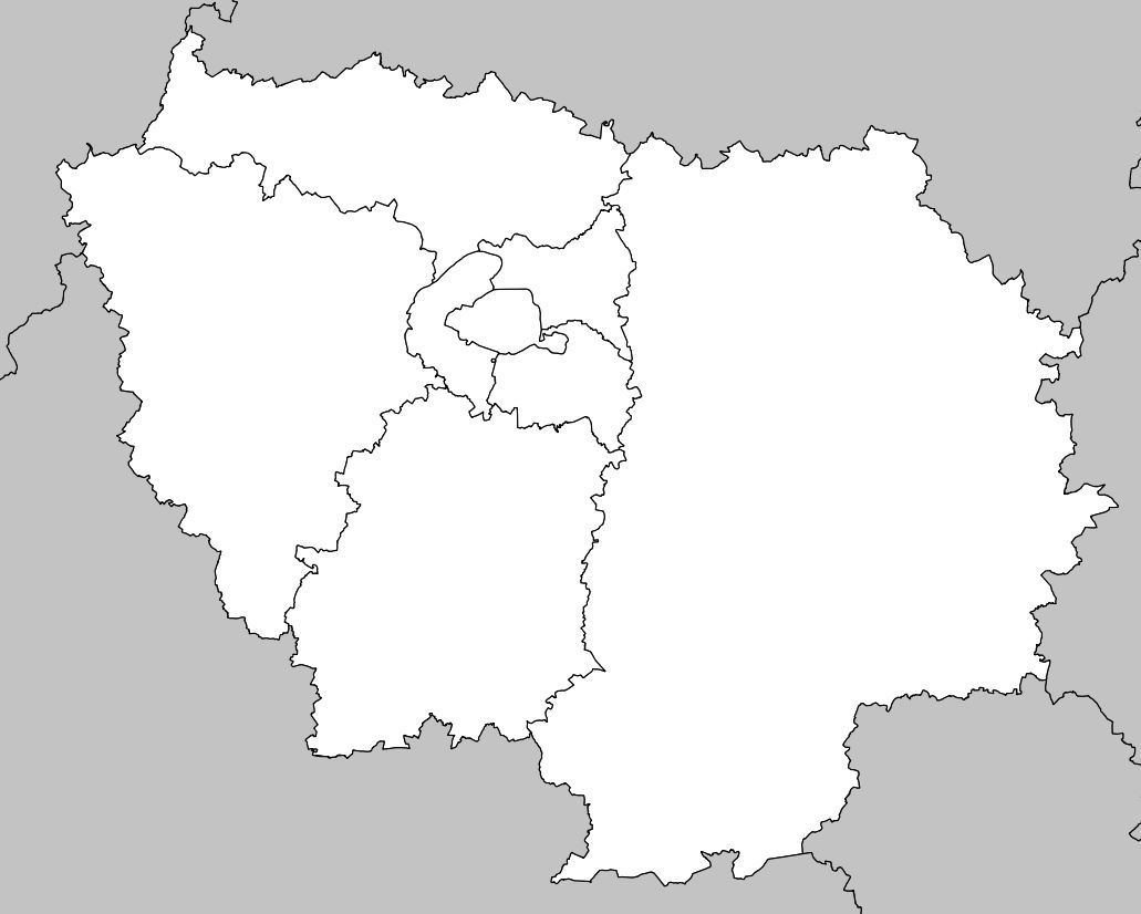 Carte De L'île-De-France - Île-De-France Carte Des Villes à Carte Vierge Des Régions De France