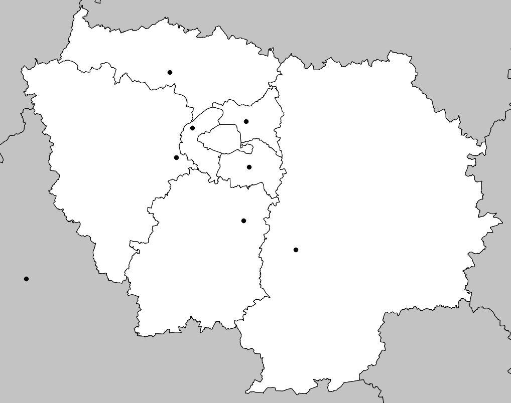 Carte De L'île-De-France - Île-De-France Carte Des Villes dedans Carte Des Régions Vierge