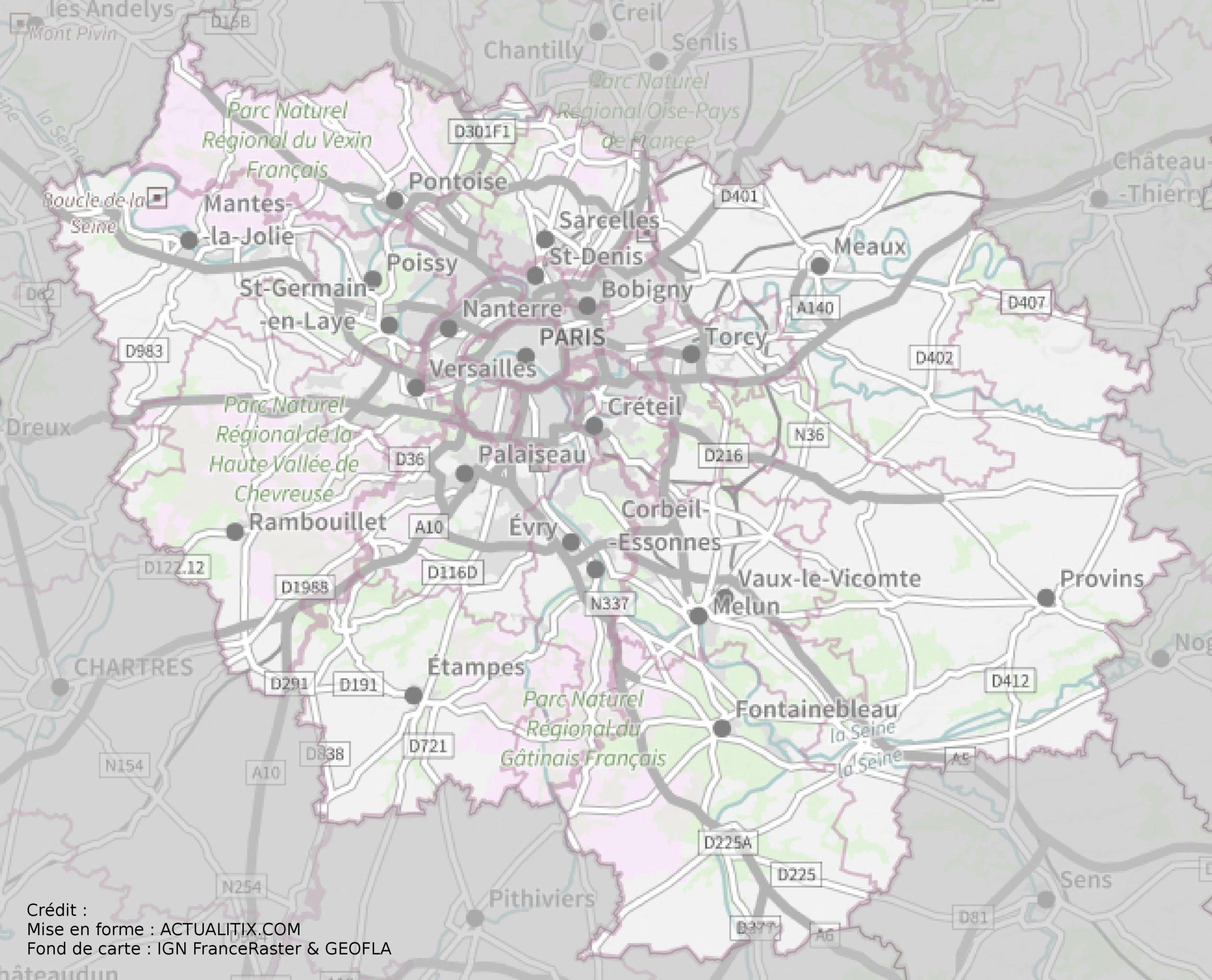 Carte De L'île-De-France - Île-De-France Carte Des Villes encequiconcerne Carte De France Des Départements À Imprimer