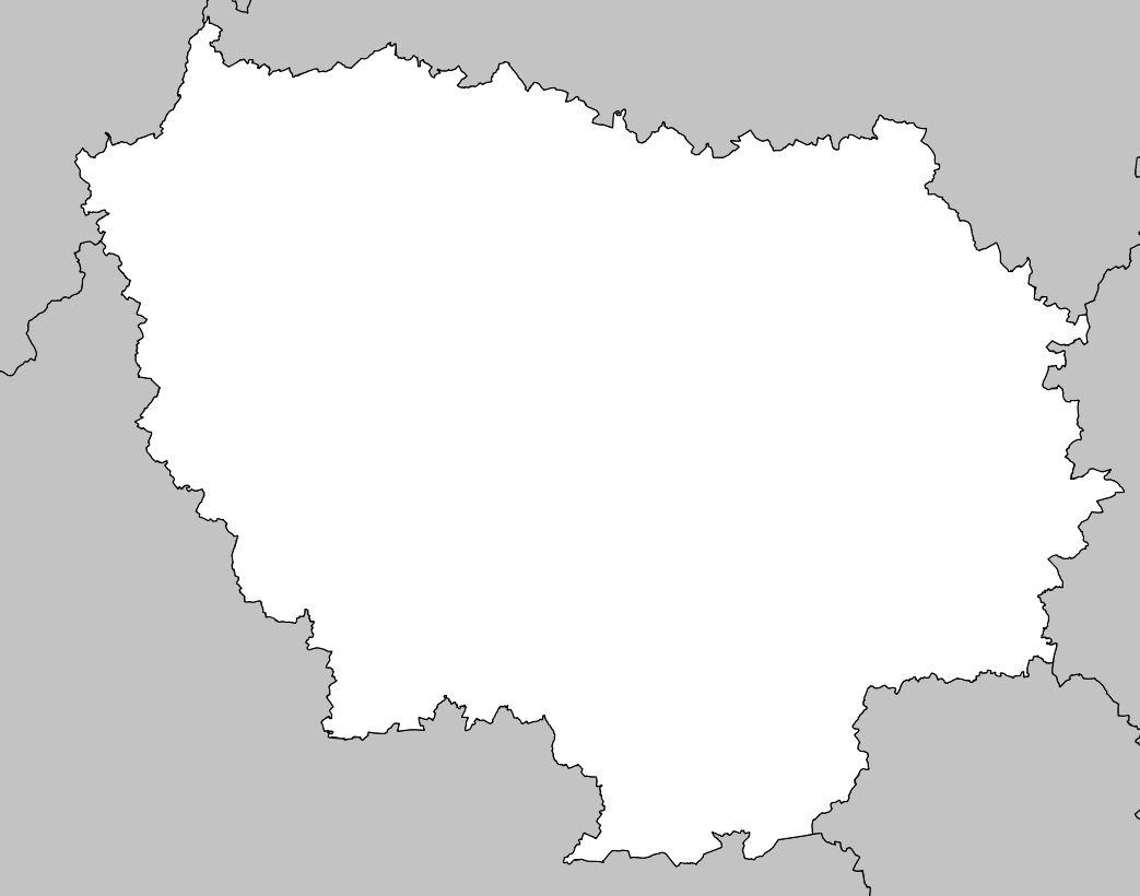 Carte De L'île-De-France - Île-De-France Carte Des Villes intérieur Carte Vierge De La France