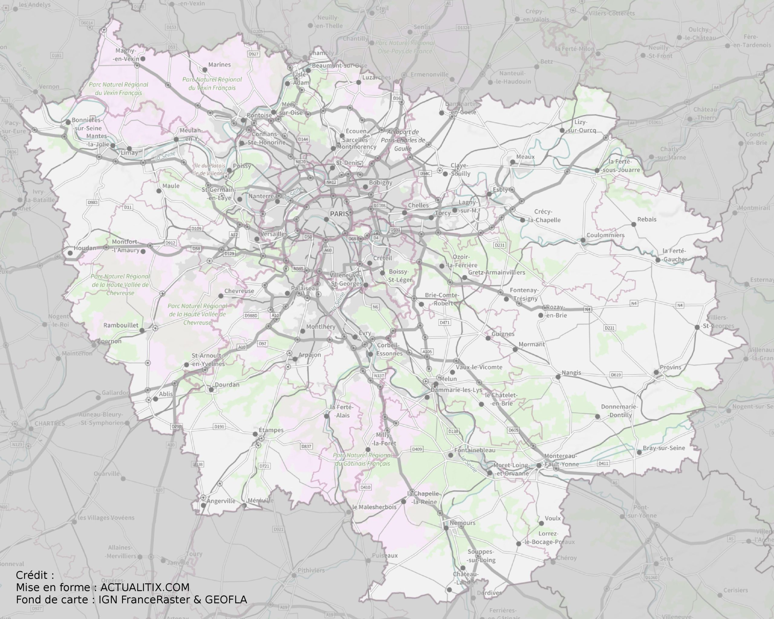 Carte De L'île-De-France - Île-De-France Carte Des Villes tout Carte France Vierge Villes