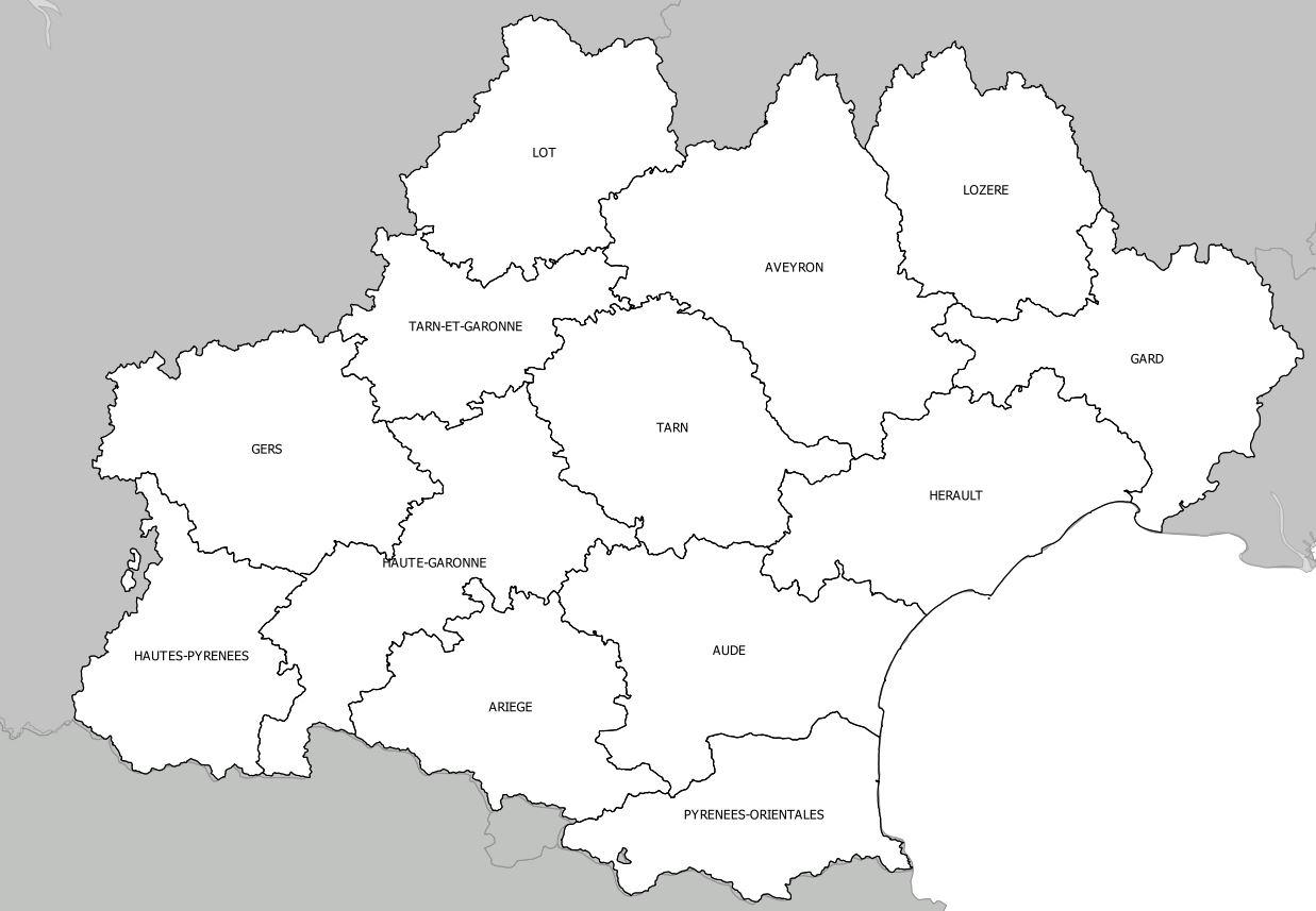 Carte De L'occitanie - Occitanie Carte Des Villes concernant Carte Département Vierge