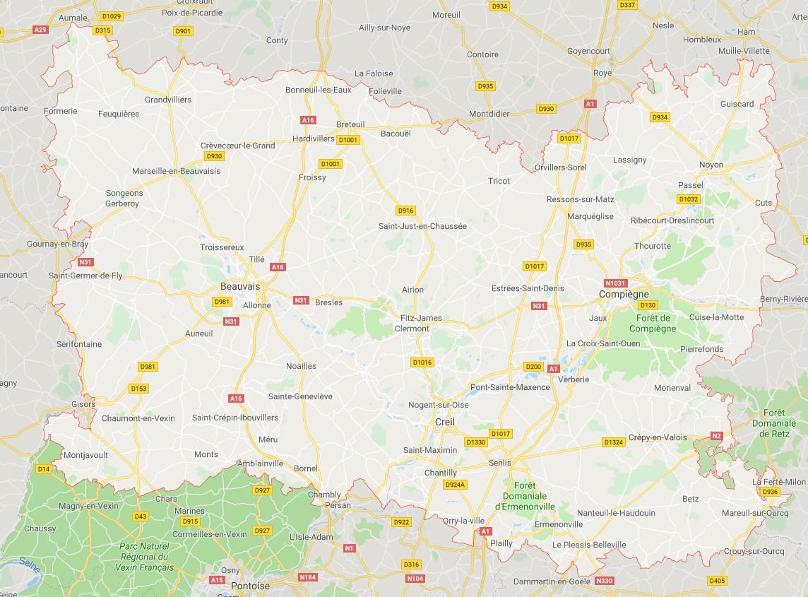 Carte De L'oise - Oise Carte Du Département 60 - Villes tout Carte Avec Departement