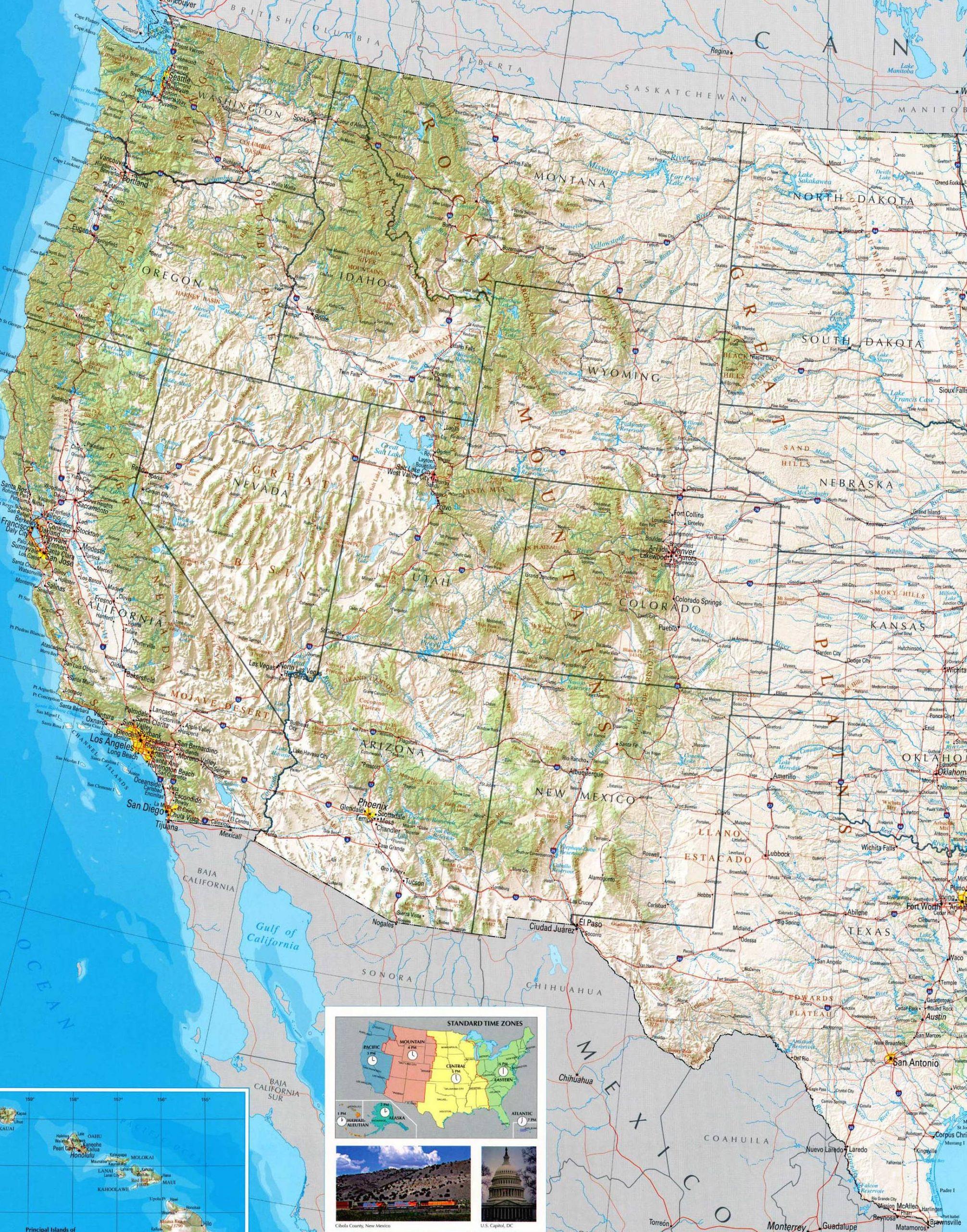 Carte De L'ouest Américain concernant Carte Etat Amerique