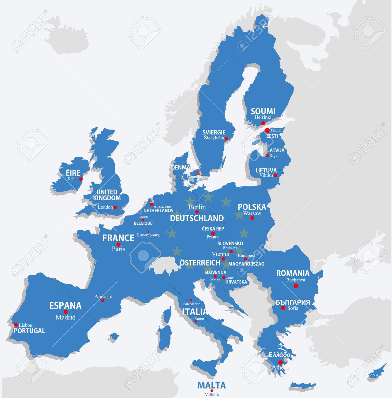 Carte De L'union Européenne Avec Les Pays De L'europe Et Le Nom De Capital avec Carte Des Pays De L Union Européenne