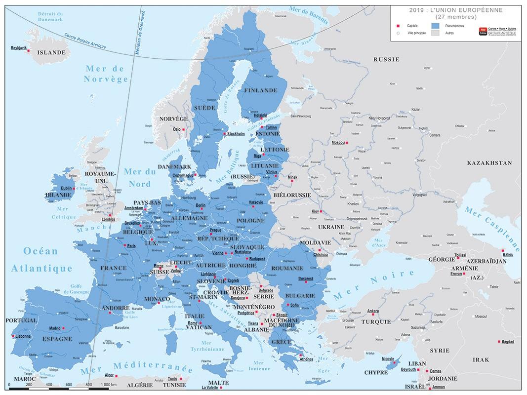 Carte De L'union Européenne En 2019 dedans Carte De L Union Europeenne