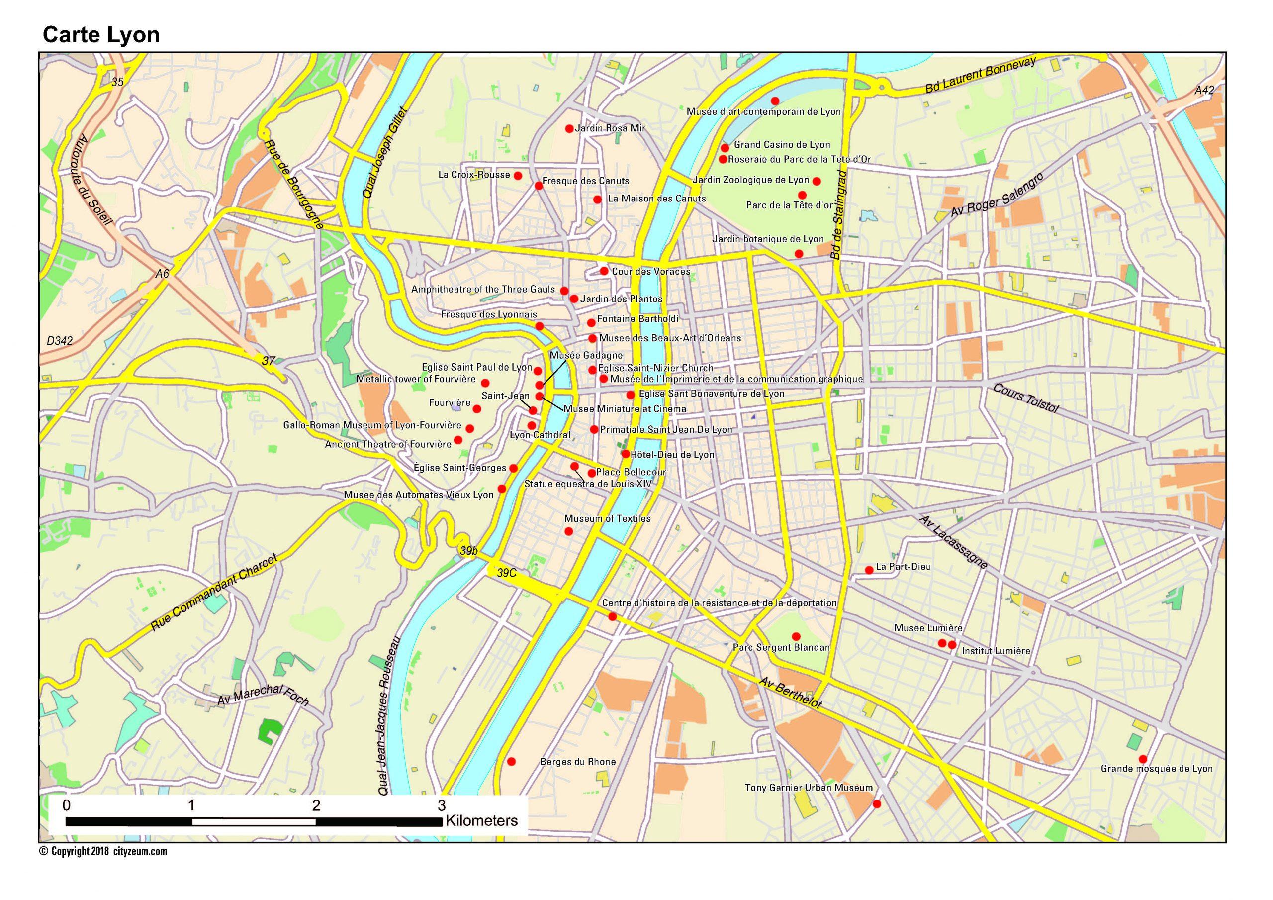 Carte De Lyon Plan Des 31 Lieux À Voir avec Carte De France Imprimable Gratuite