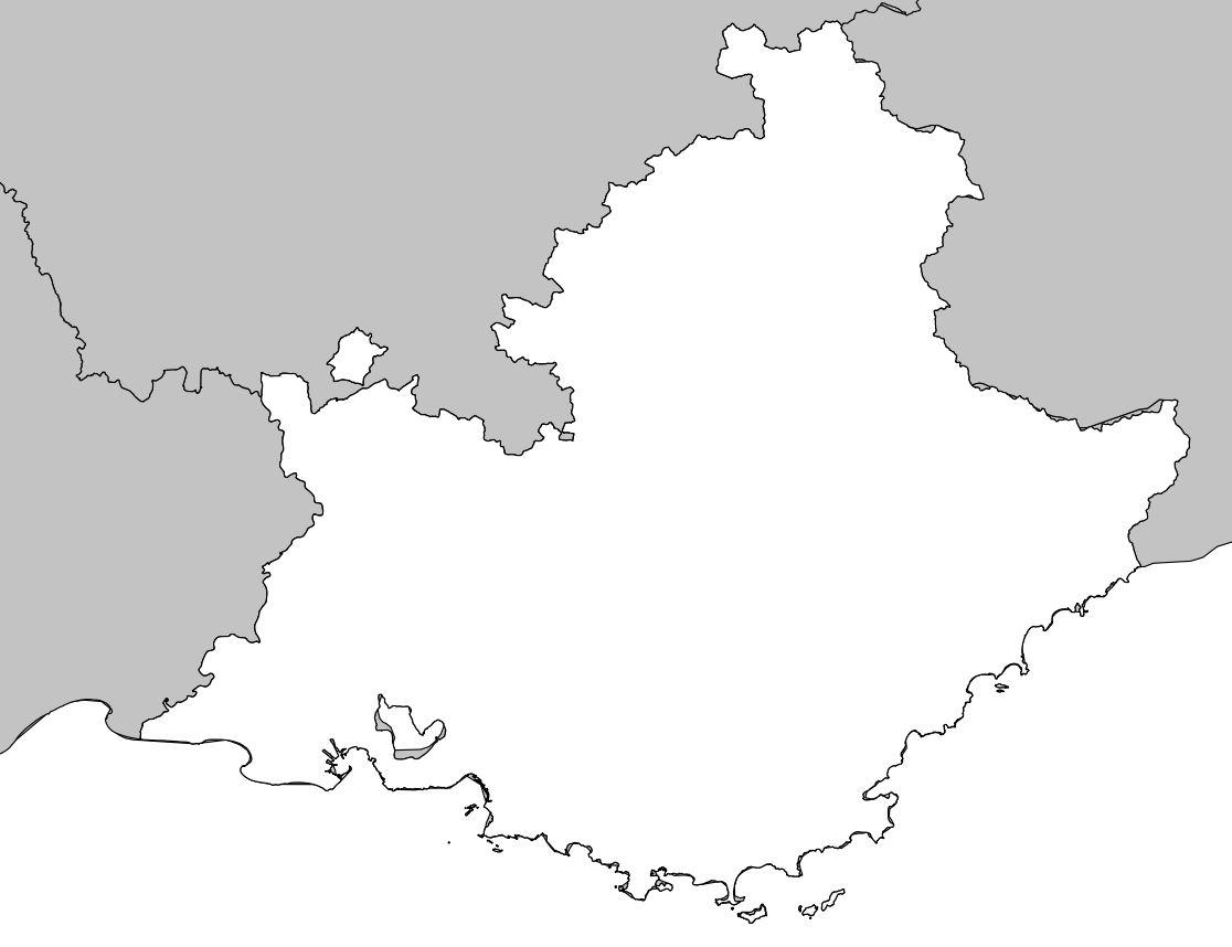 Carte De Provence Alpes Côtes D'azur (Paca) - Région De France pour Carte Des Régions Vierge