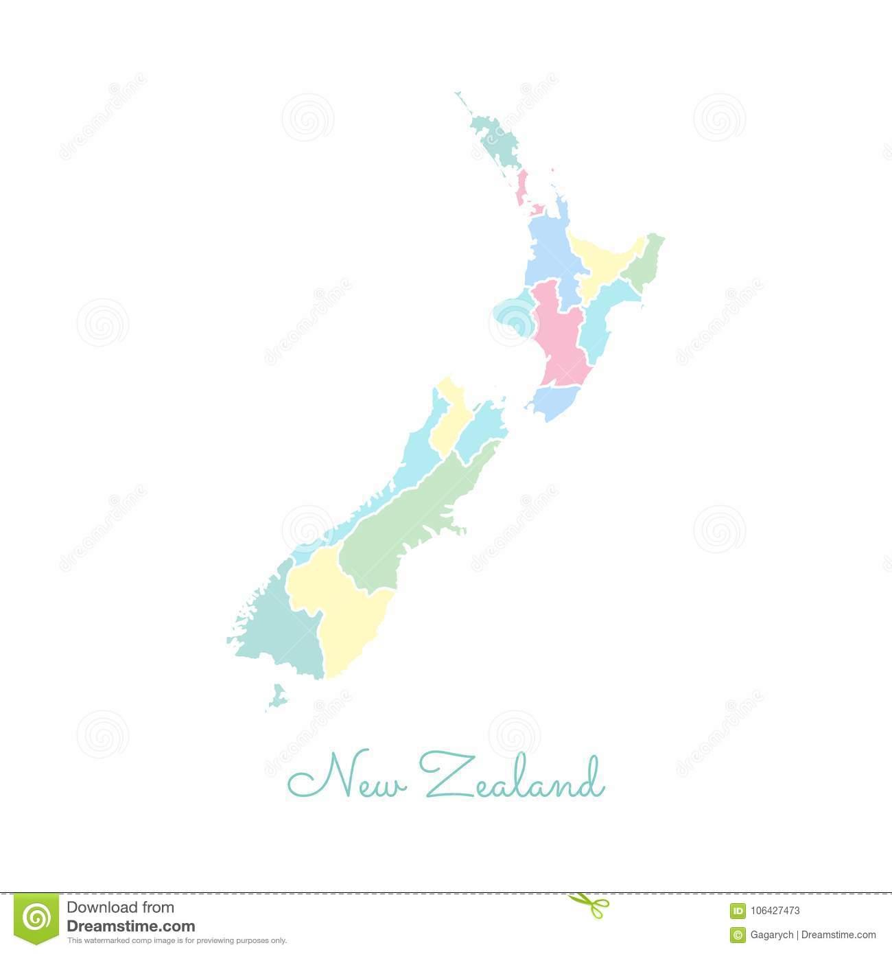 Carte De Région Du Nouvelle-Zélande : Coloré Avec Le Blanc avec Carte Nouvelle Region