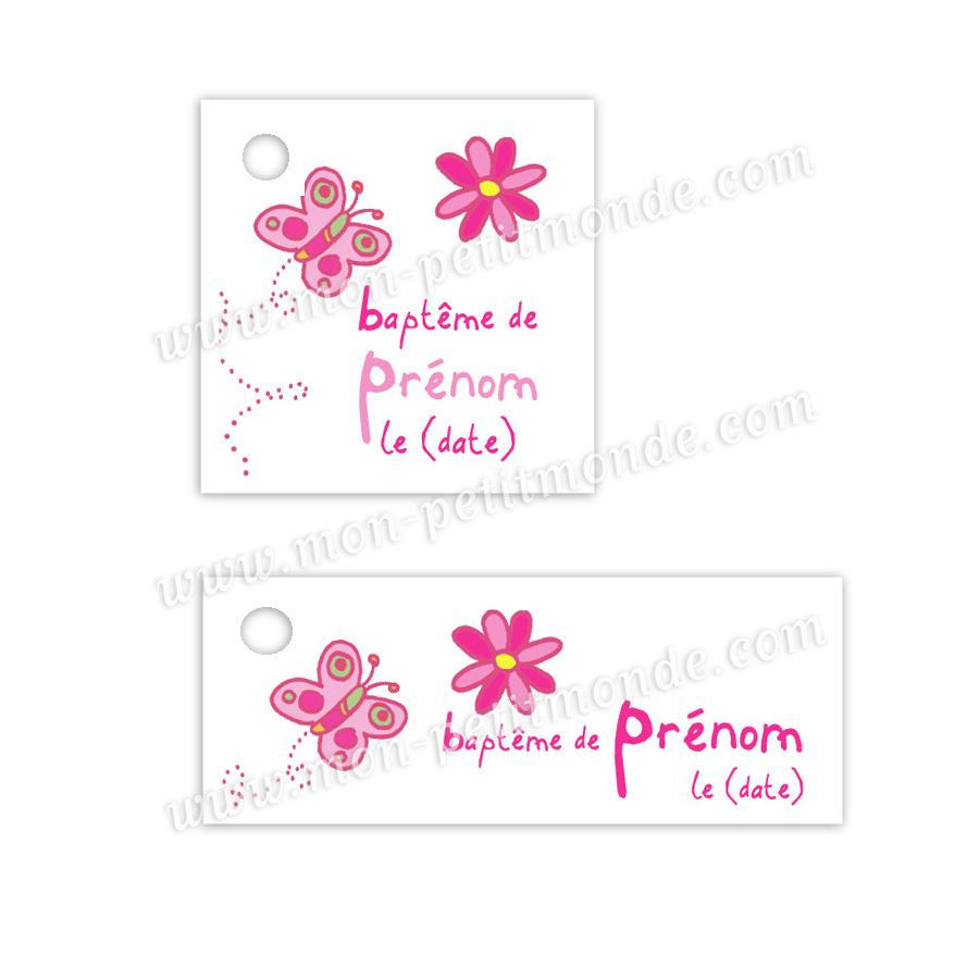 Carte De Remerciements Bapteme Anouk - Mon-Petitmonde dedans Etiquette Papillon A Imprimer