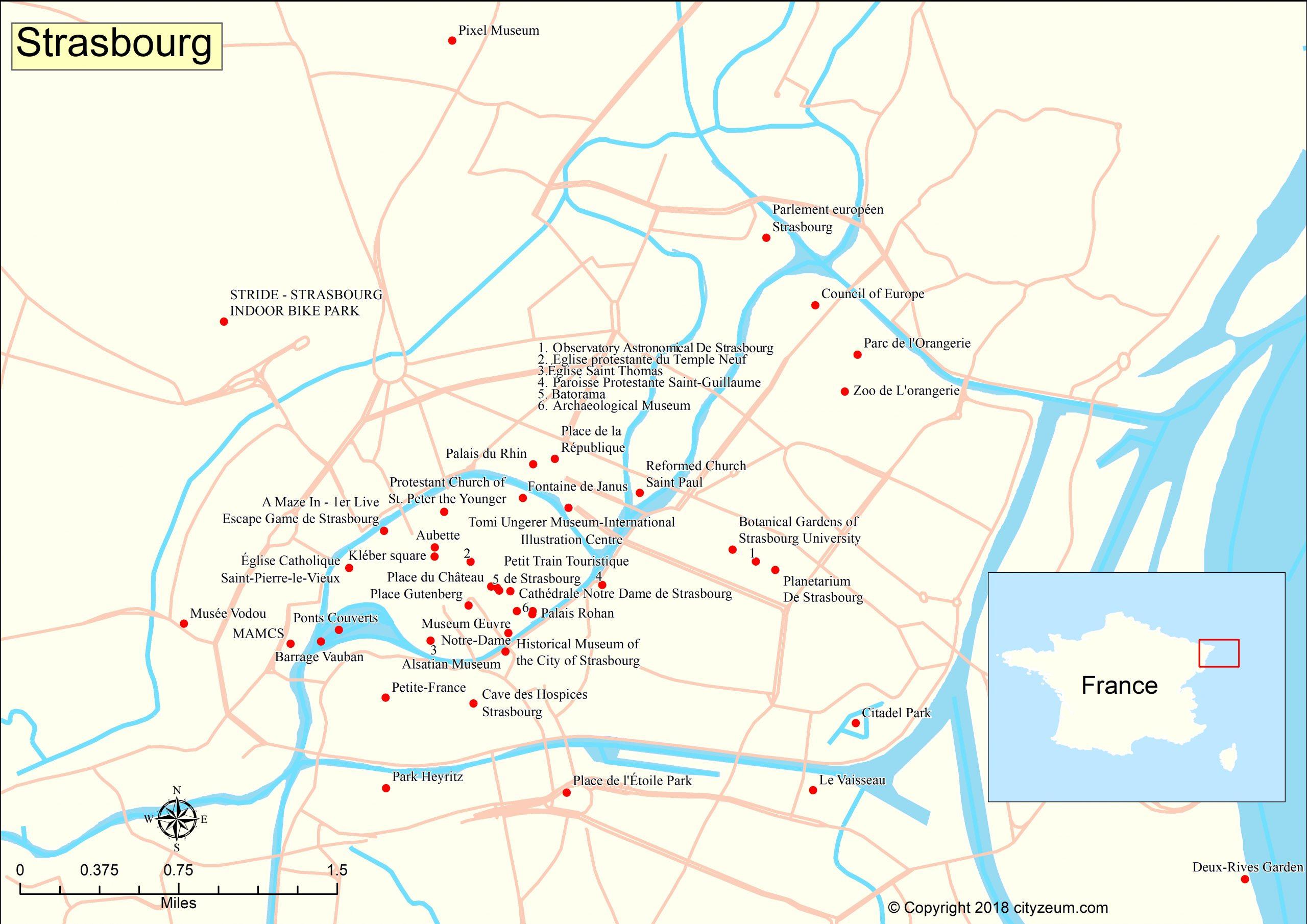 Carte De Strasbourg : Plan Touristique Strasbourg tout Petite Carte De France A Imprimer