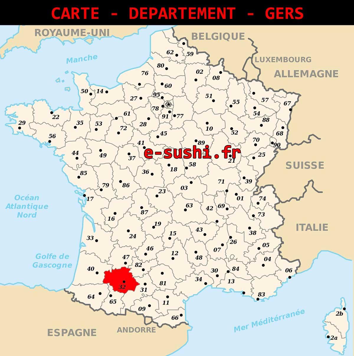 Carte - Département Du Gers - Arts Et Voyages concernant Carte Départementale De La France