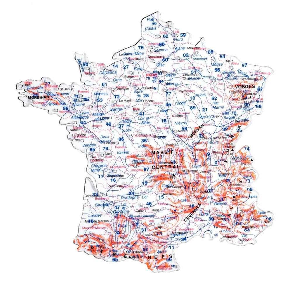 Carte Departement + Fleuve - Pochette De 2 destiné Carte Des Fleuves En France