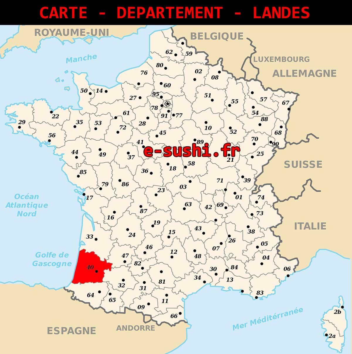 Carte - Département Landes - Arts Et Voyages concernant Département 13 Carte