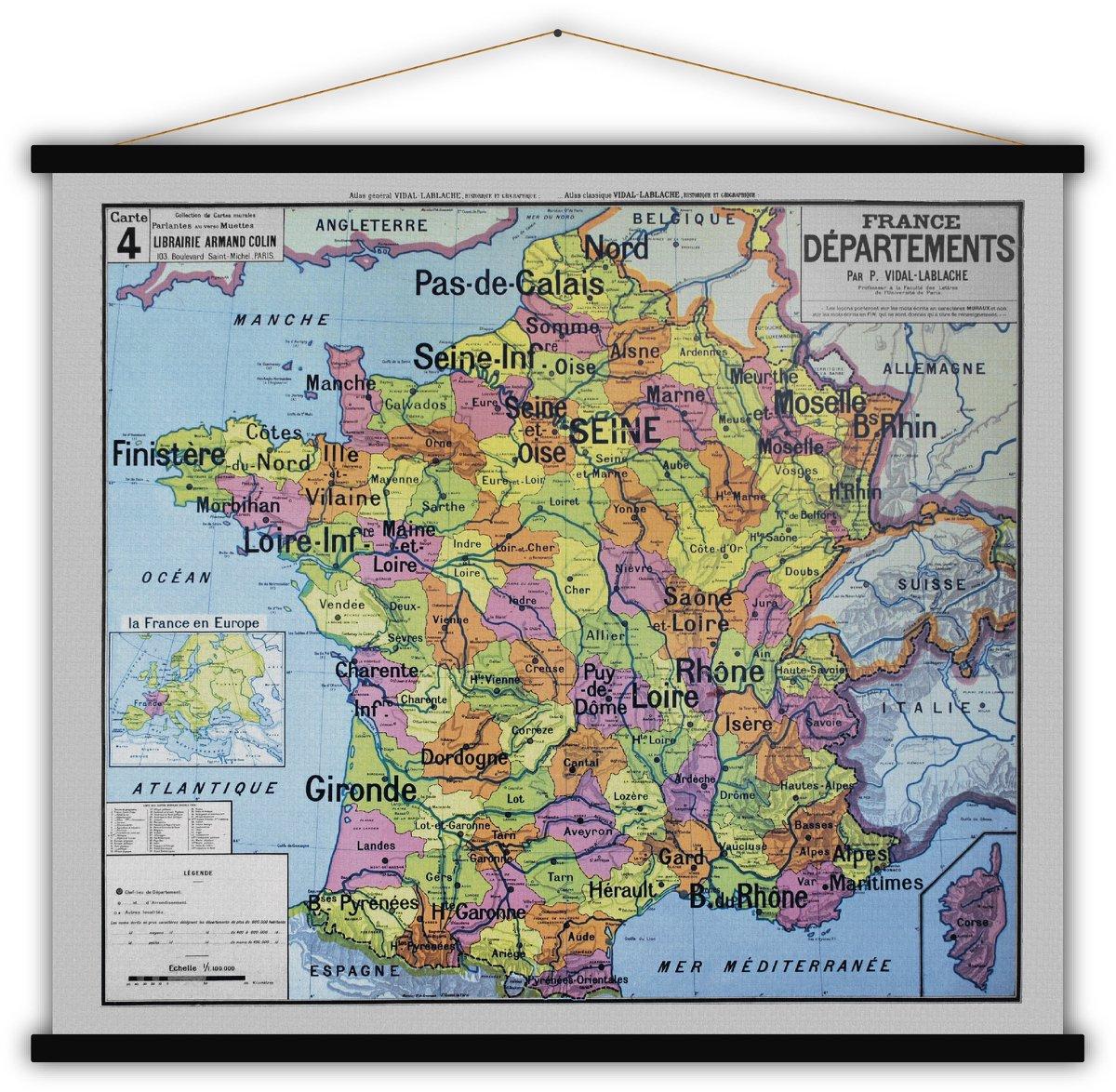 Carte Départements De France 140X120 - Blue-Shaker dedans Carte Departements Francais