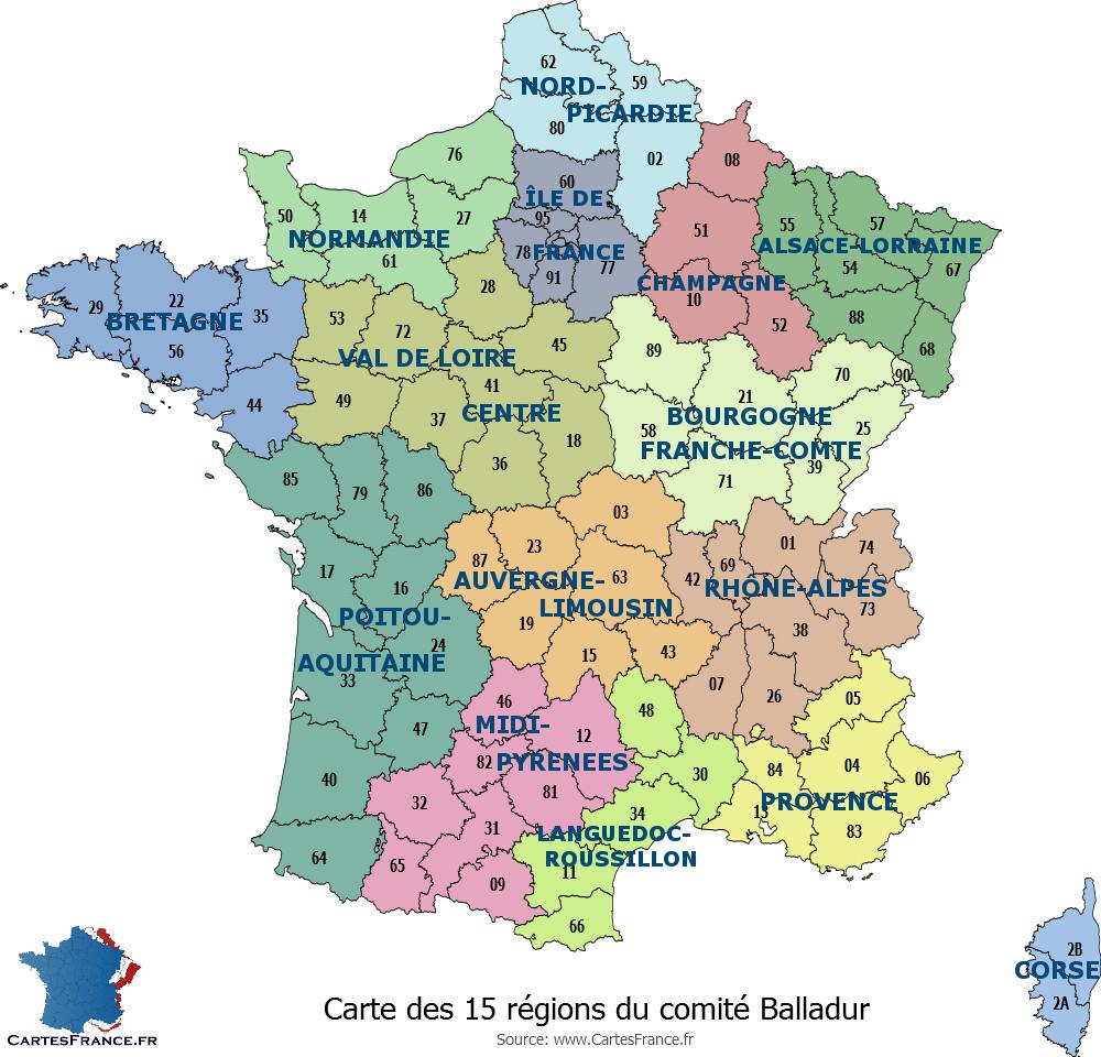 Carte Des 13 Nouvelles Régions à Plan De La France Par Departement