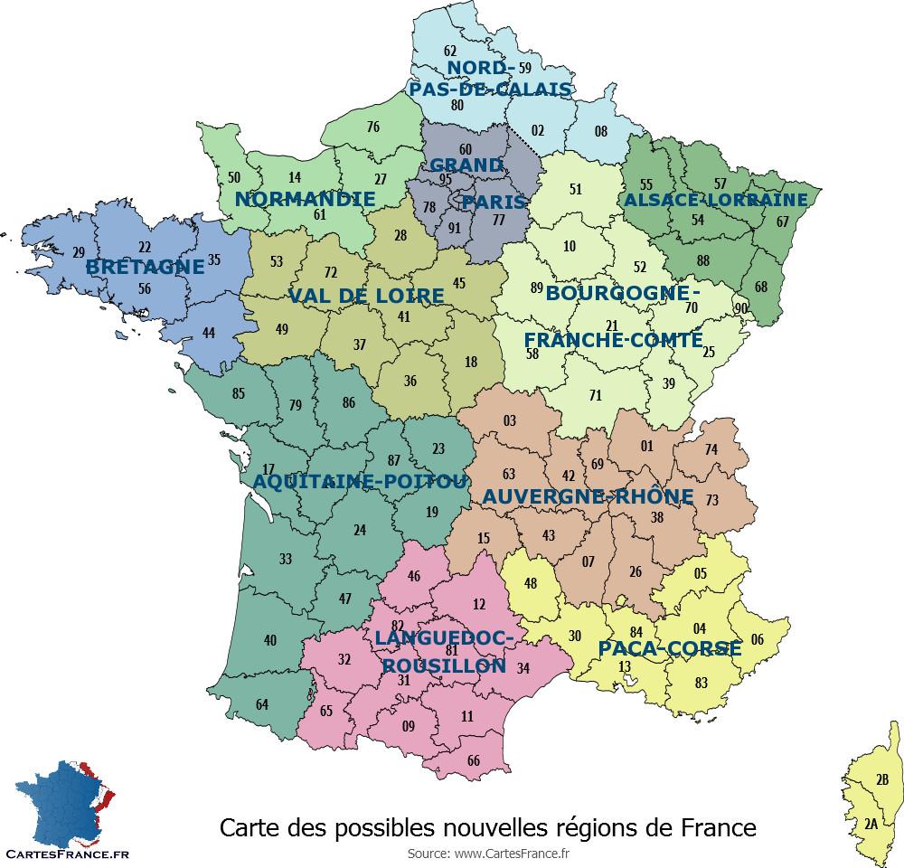 Carte Des 13 Nouvelles Régions destiné Departement Francais Carte