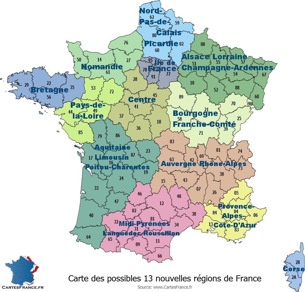Carte Des 13 Nouvelles Régions encequiconcerne Carte De France Numéro Département