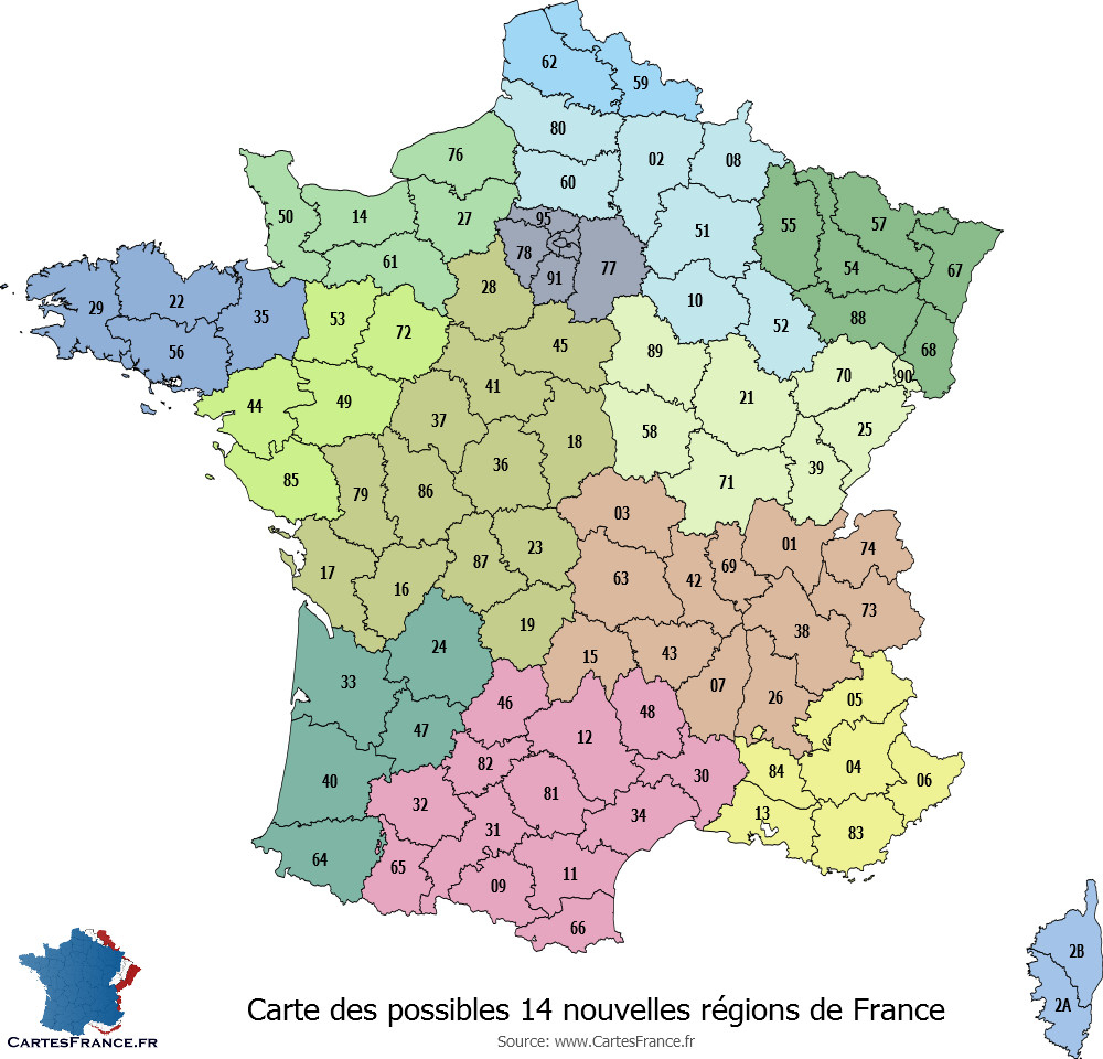 Carte Des 14 Nouvelles Régions intérieur Departement Francais Carte