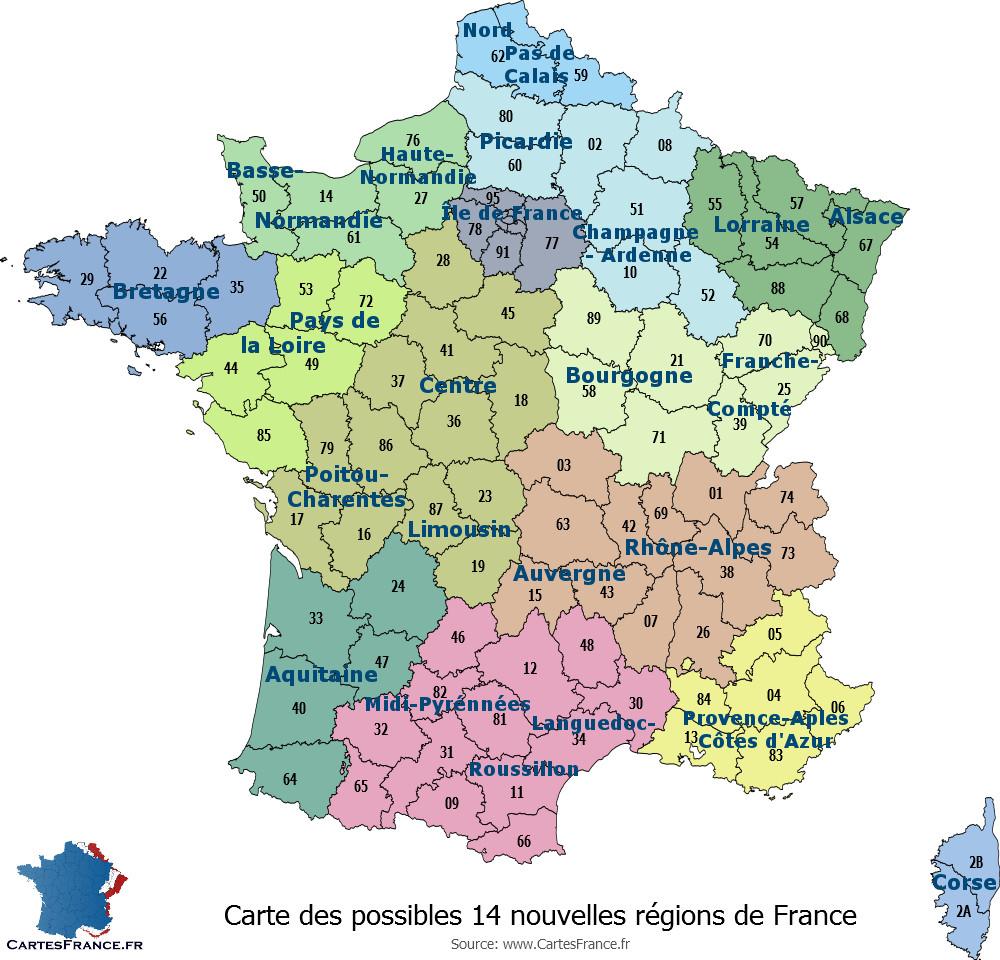 Carte Des 14 Nouvelles Régions pour Carte De France Vierge Nouvelles Régions