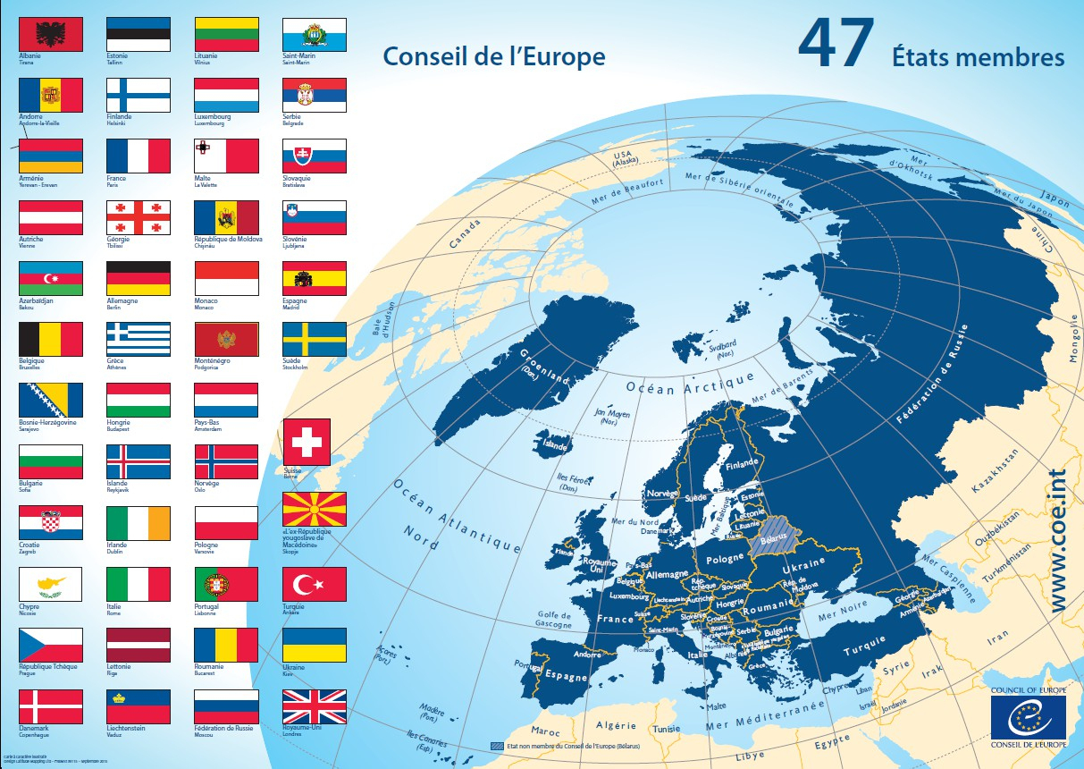 Carte Des 47 États Membres dedans Carte Des Pays Membres De L Ue