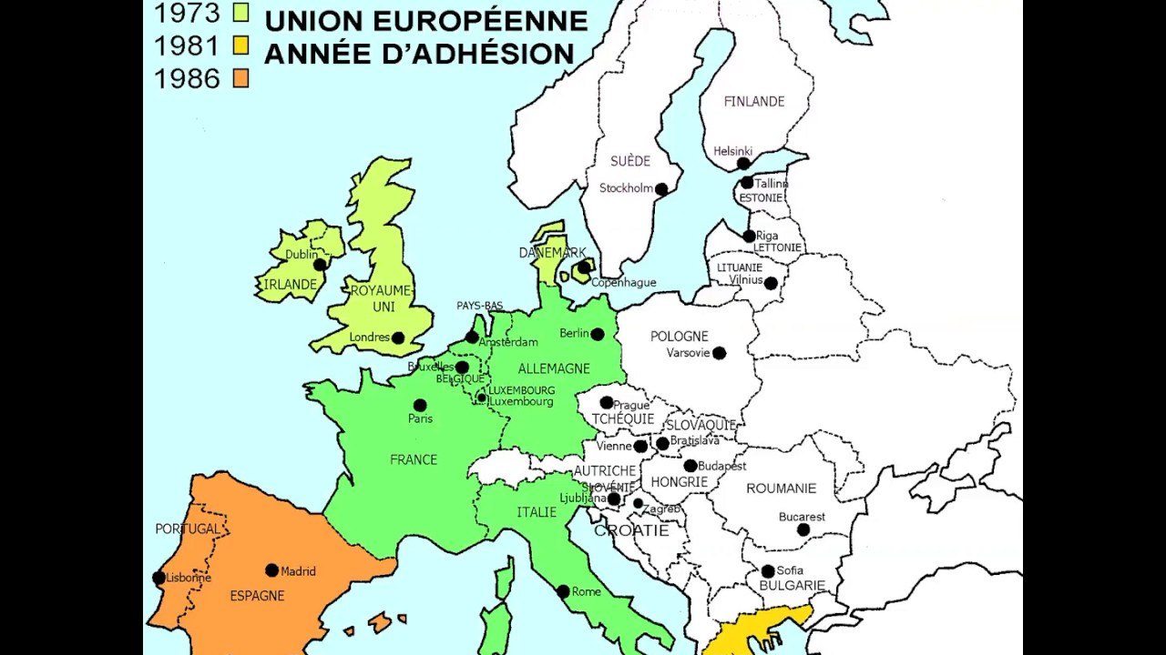 Carte Des Adhésions Successives À L'union Européenne, De 1957 À 2013 tout Carte Union Europeene