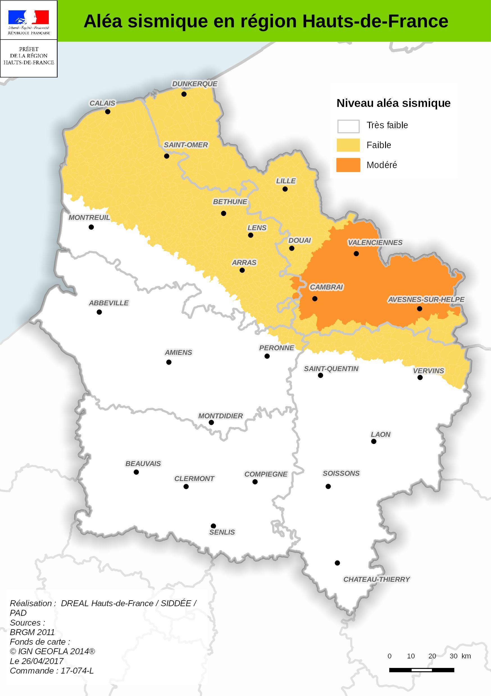 Carte Des Aléas Sismiques Pour La Région Des Hauts-De-France concernant Carte De La France Région