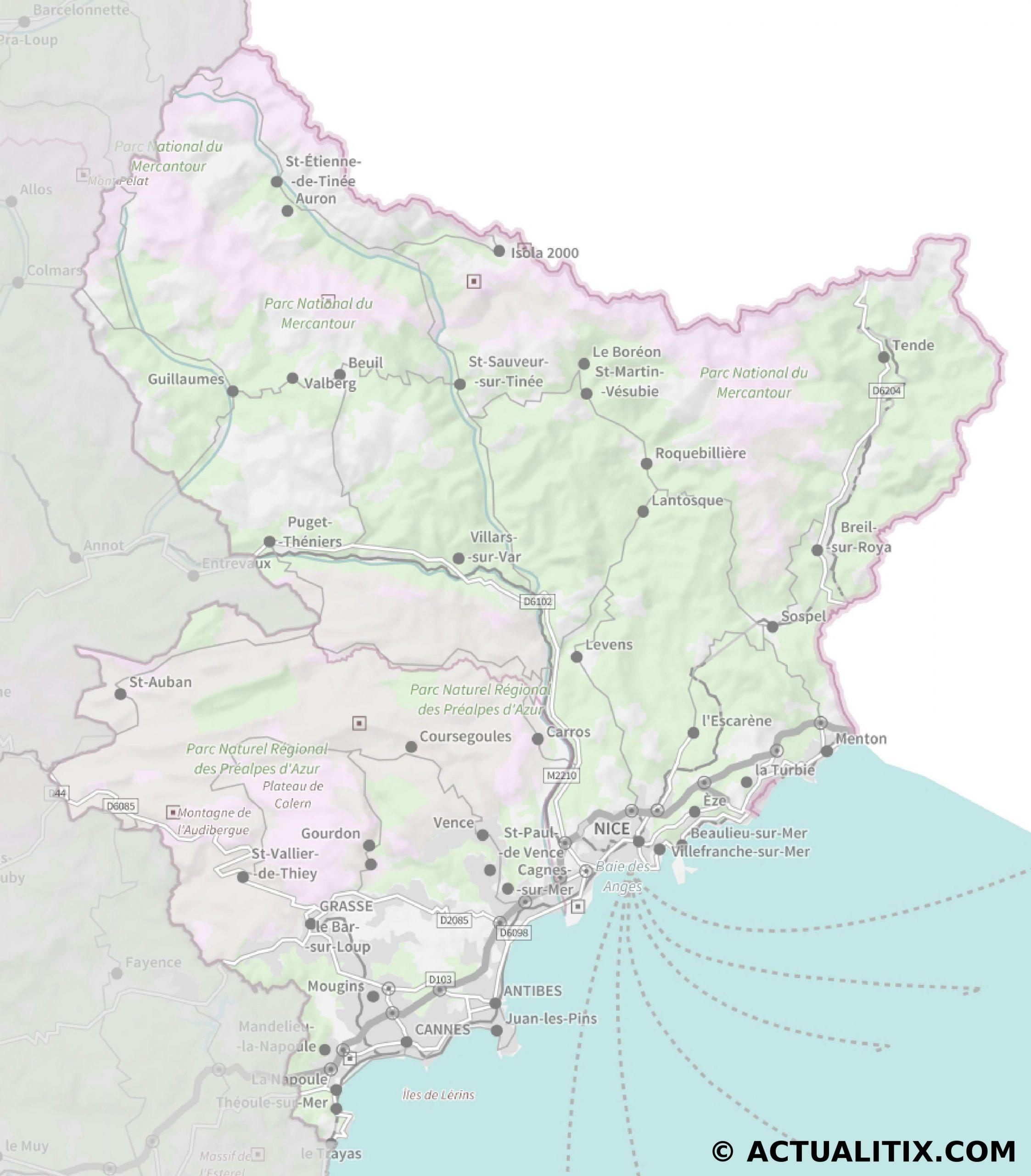 Carte Des Alpes-Maritimes - Cartes Et Plans Du Département intérieur Carte De France Avec Départements Et Préfectures