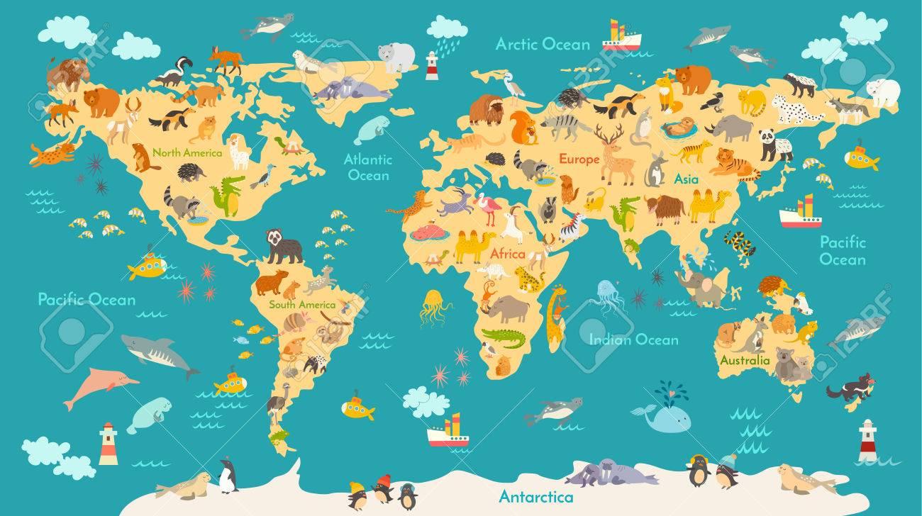 Carte Des Animaux Pour L'enfant. Affiche De Vecteur Mondial Pour Les  Enfants, Mignon Illustré. Globe De Bande Dessinée D'âge Préscolaire Avec  Des destiné Carte Europe Enfant